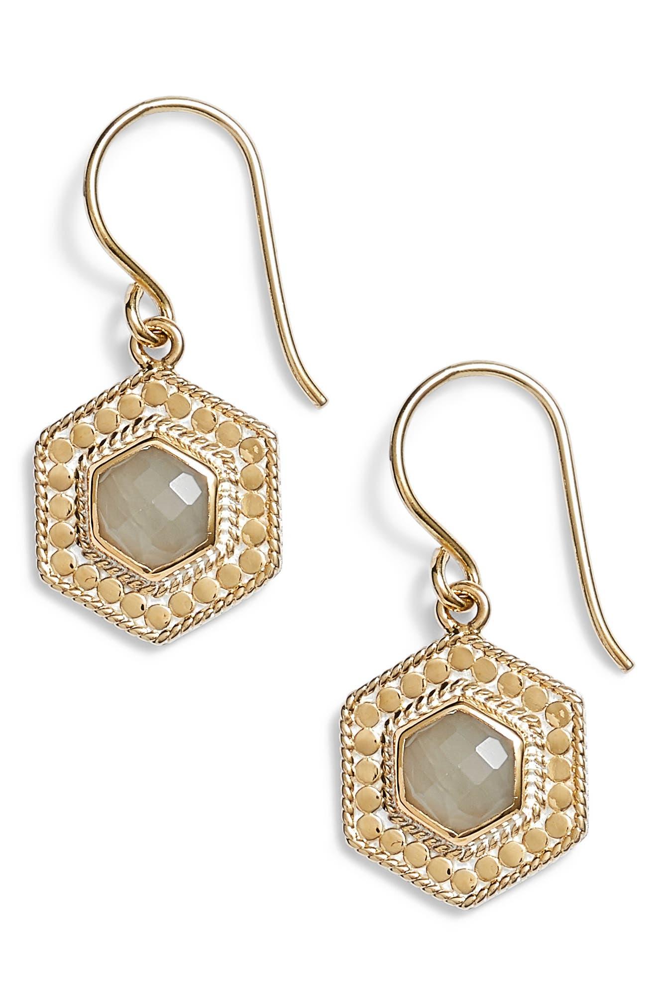 Grey Moonstone Hexagon Drop Earrings,                             Main thumbnail 1, color,                             Gold/ Grey Moonstone