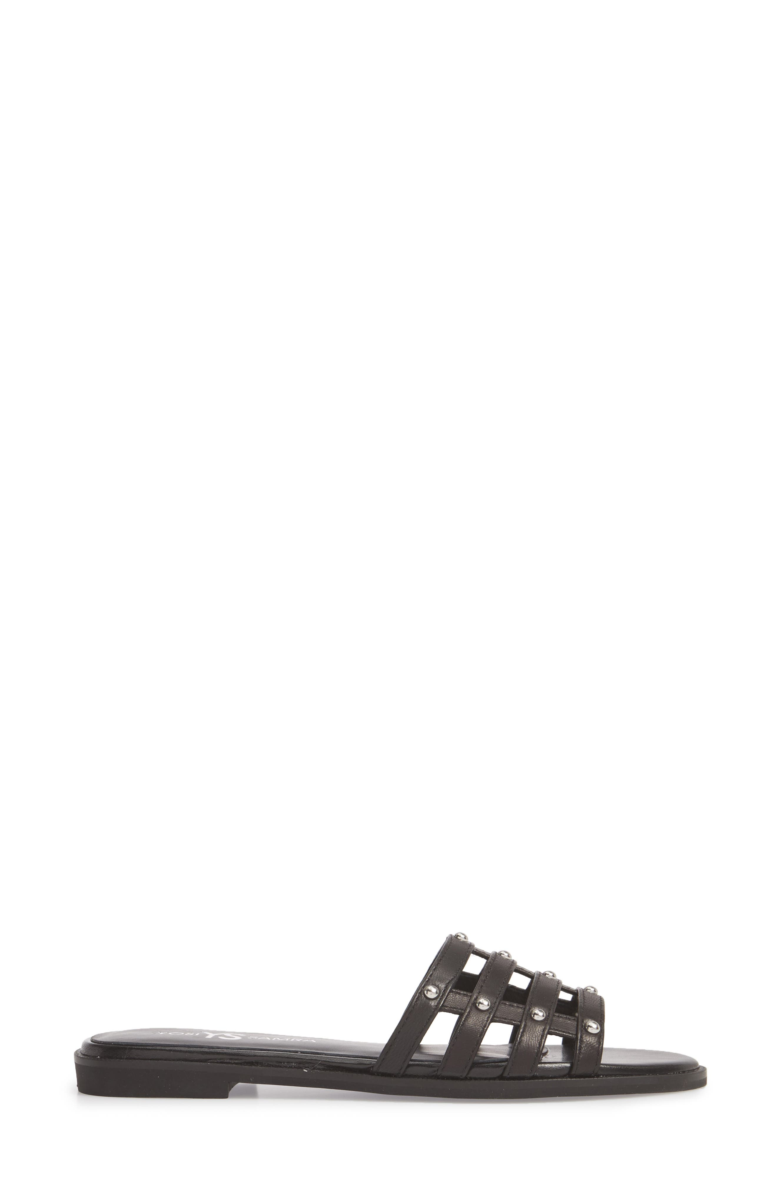 Cara Slide Sandal,                             Alternate thumbnail 3, color,                             Black/ Silver Studs