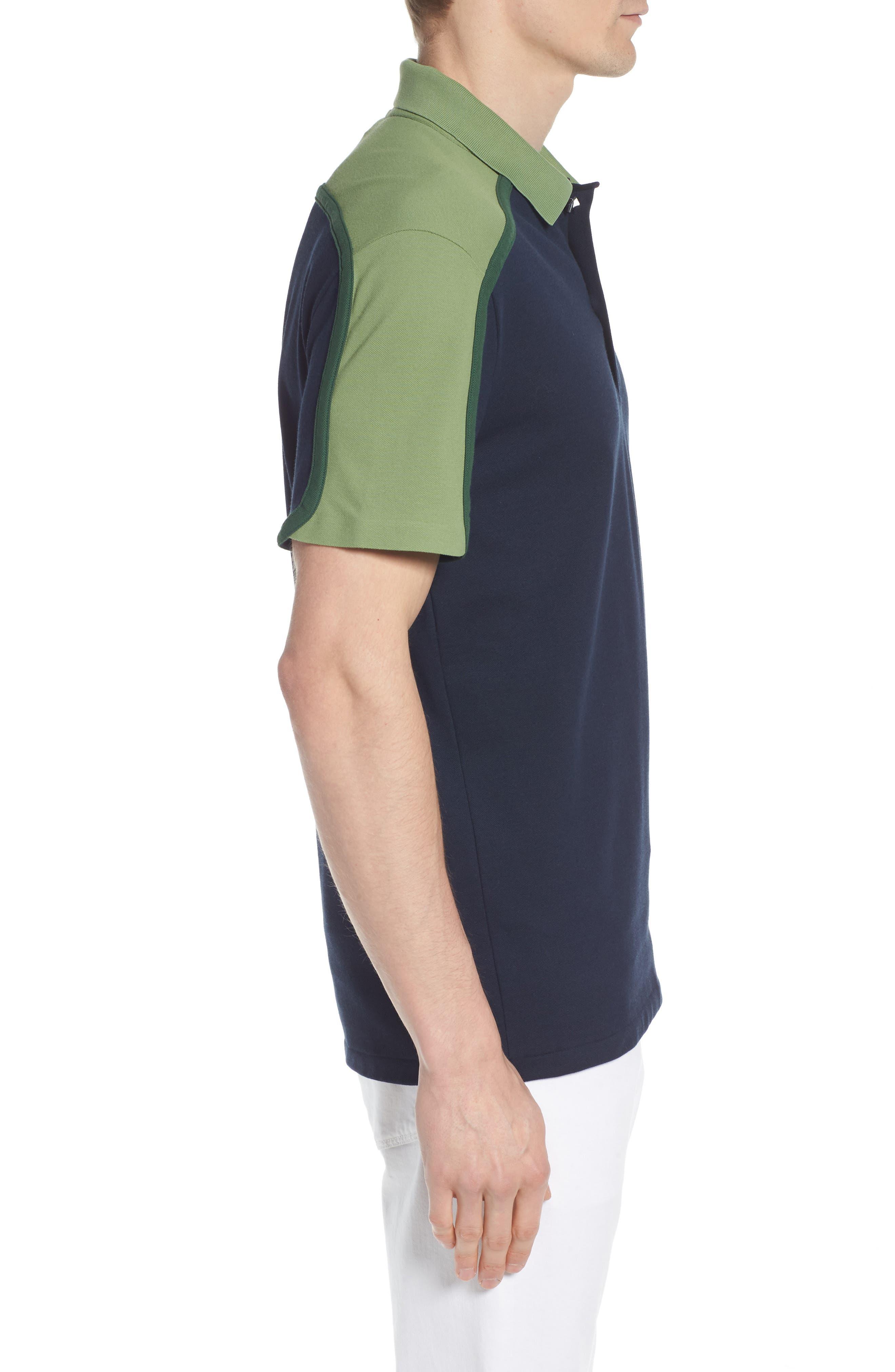 Made in France Colorblock Piqué Polo,                             Alternate thumbnail 3, color,                             Navy Blue/ Copenhagen-Green