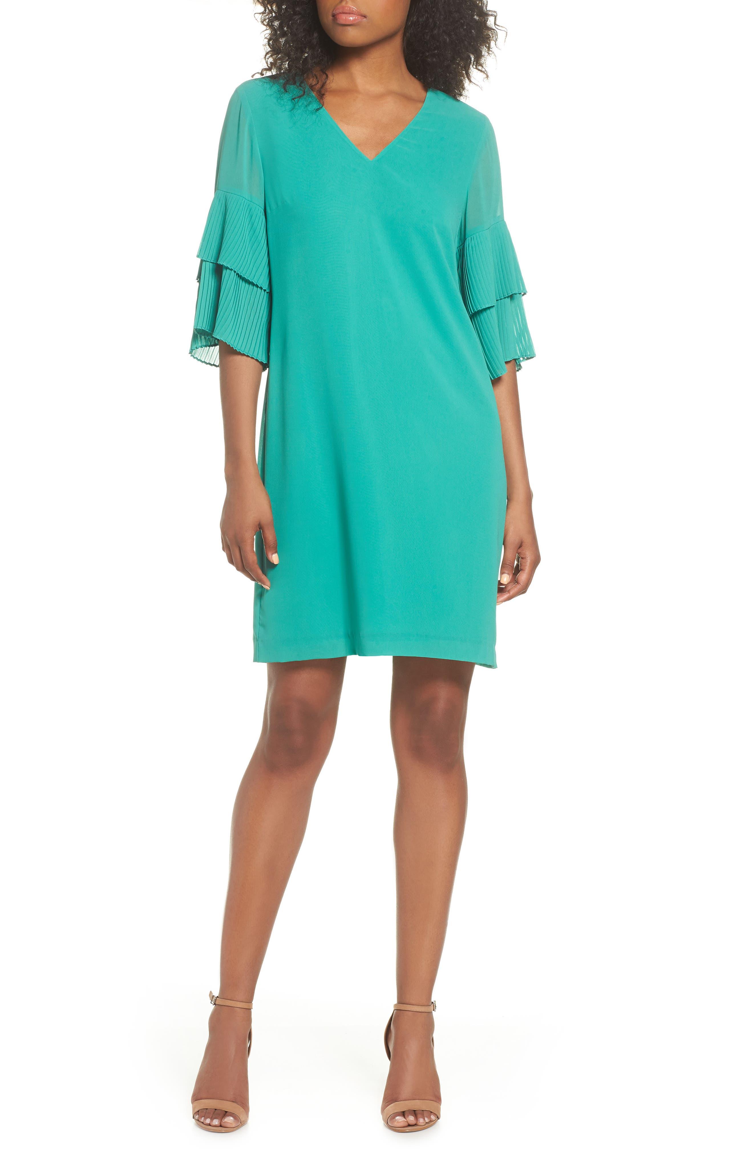 Pleat Sleeve Shift Dress,                             Main thumbnail 1, color,                             Green
