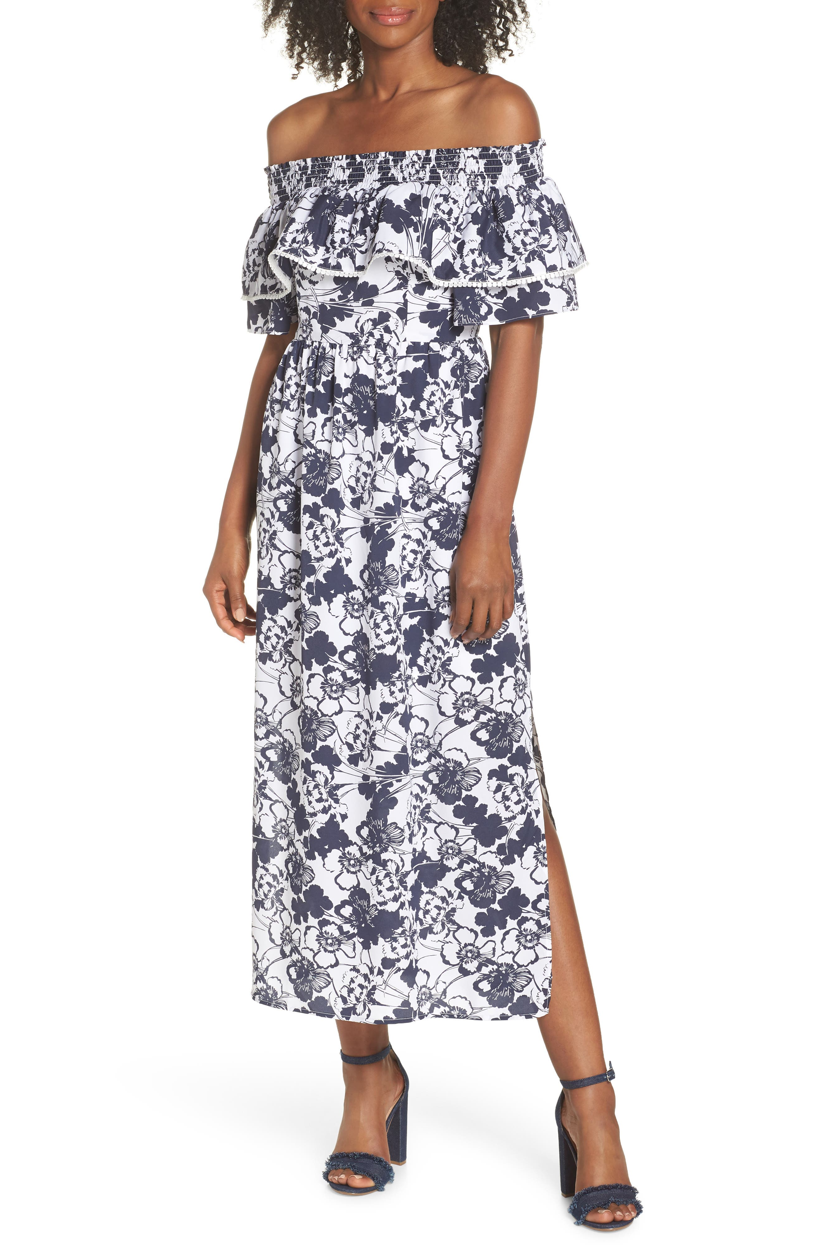 Off the Shoulder Ruffle Maxi Dress,                             Main thumbnail 1, color,                             Navy Ivory Floral Print