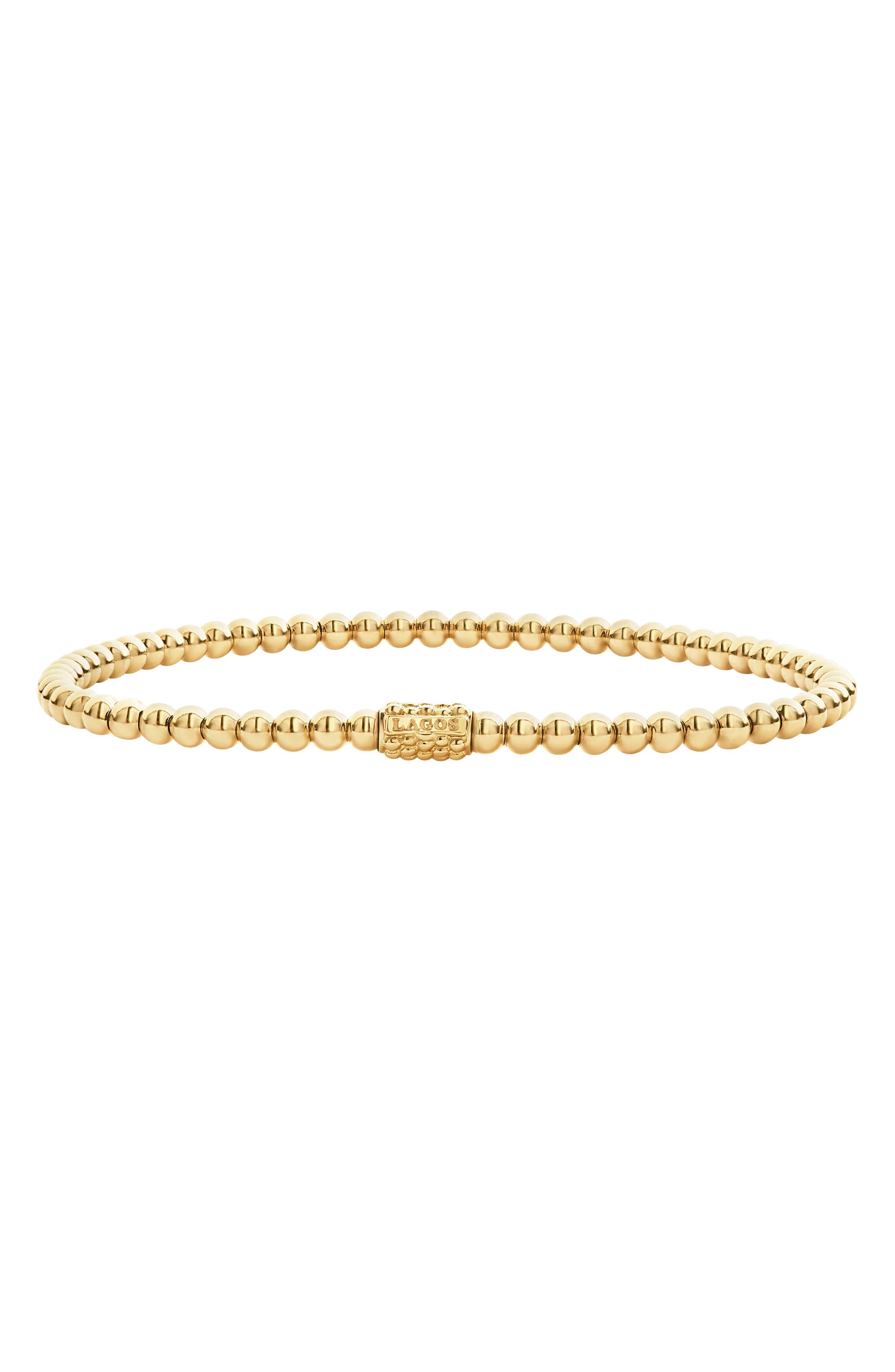 Caviar Gold Ball Stretch Bracelet,                             Main thumbnail 1, color,                             Gold