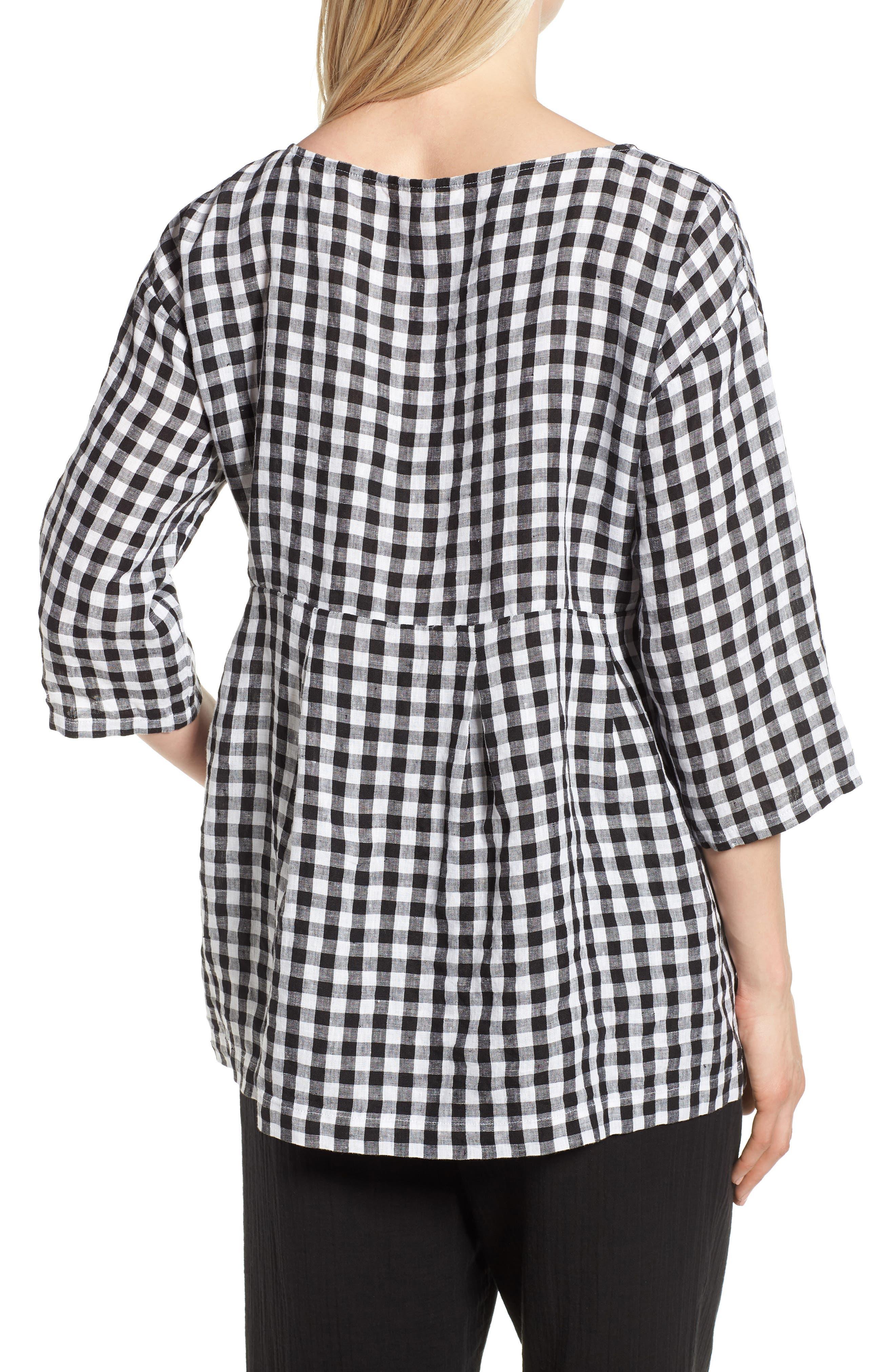 Gingham Organic Linen Top,                             Alternate thumbnail 2, color,                             Black/ White