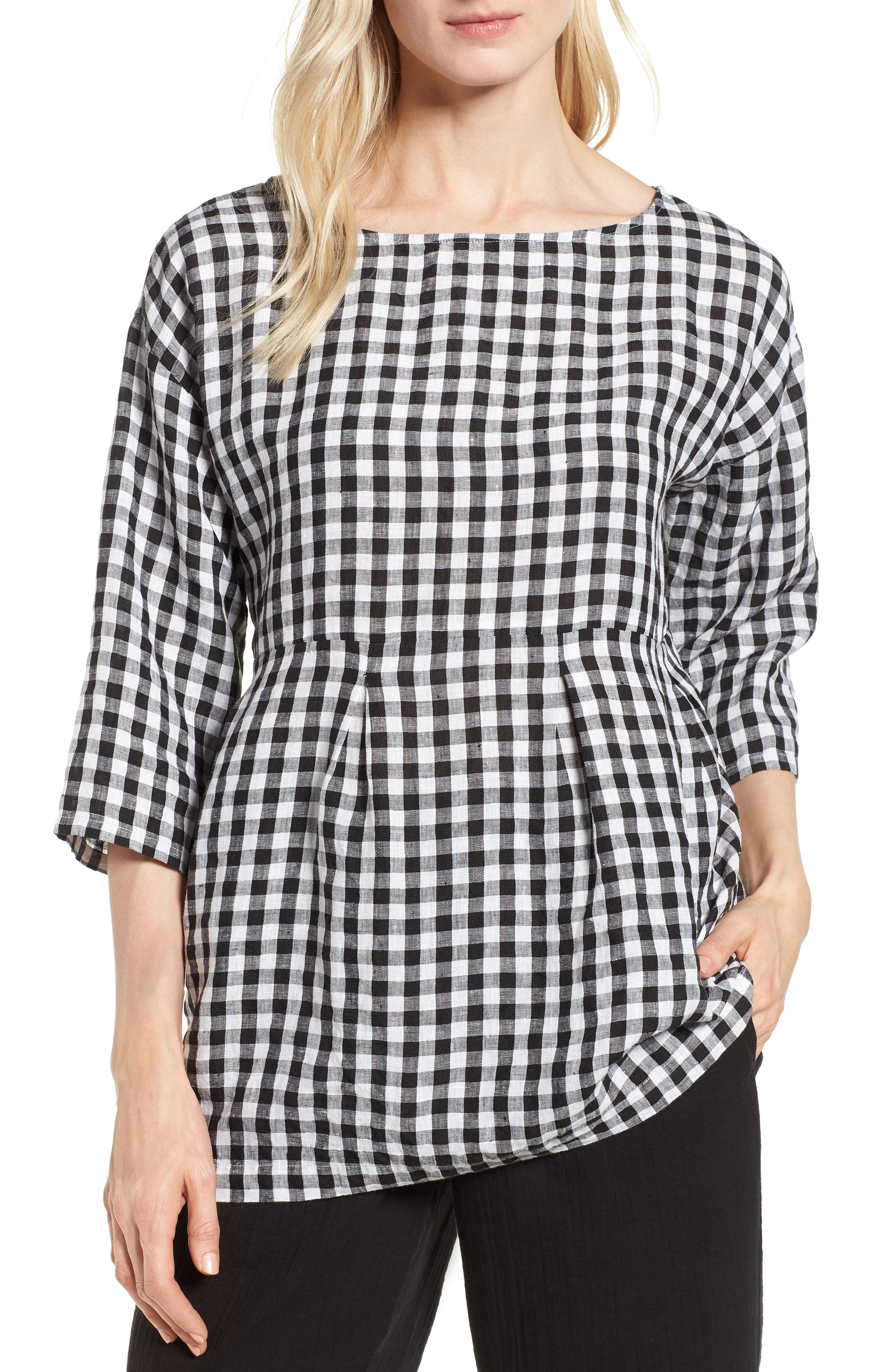 Gingham Organic Linen Top,                         Main,                         color, Black/ White