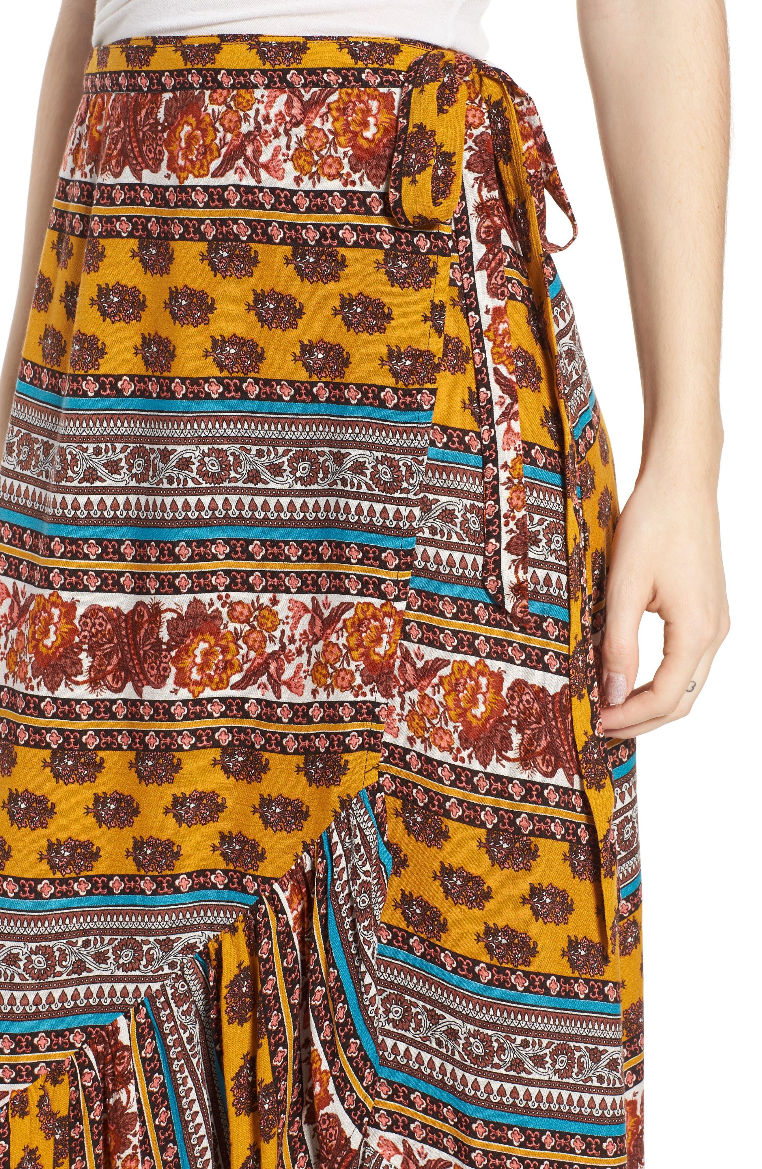 Geo Stripe Wrap Skirt,                             Alternate thumbnail 4, color,                             Gold/ Teal
