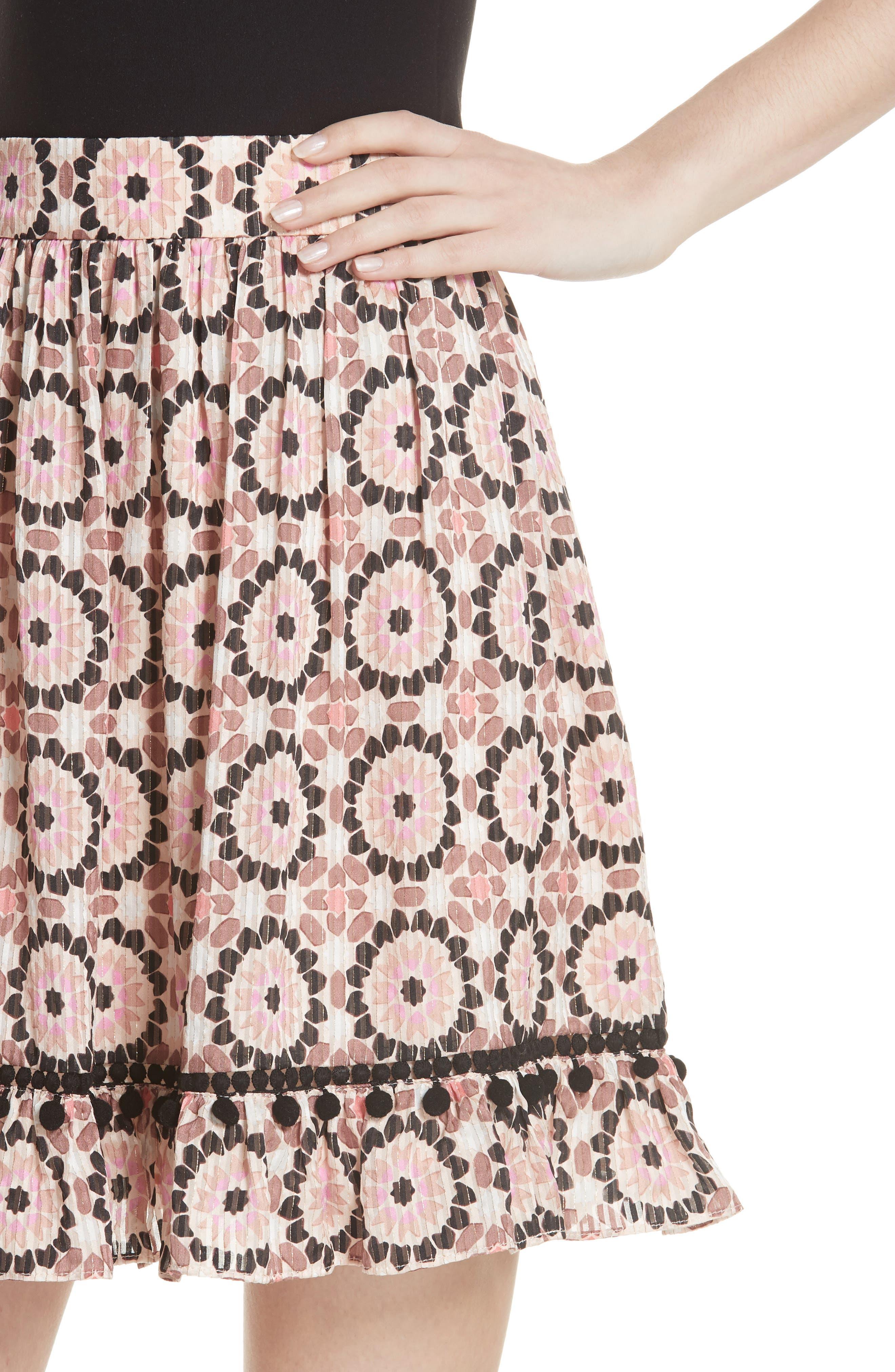 floral mosaic silk blend skirt,                             Alternate thumbnail 4, color,                             Pearl Pink Multi