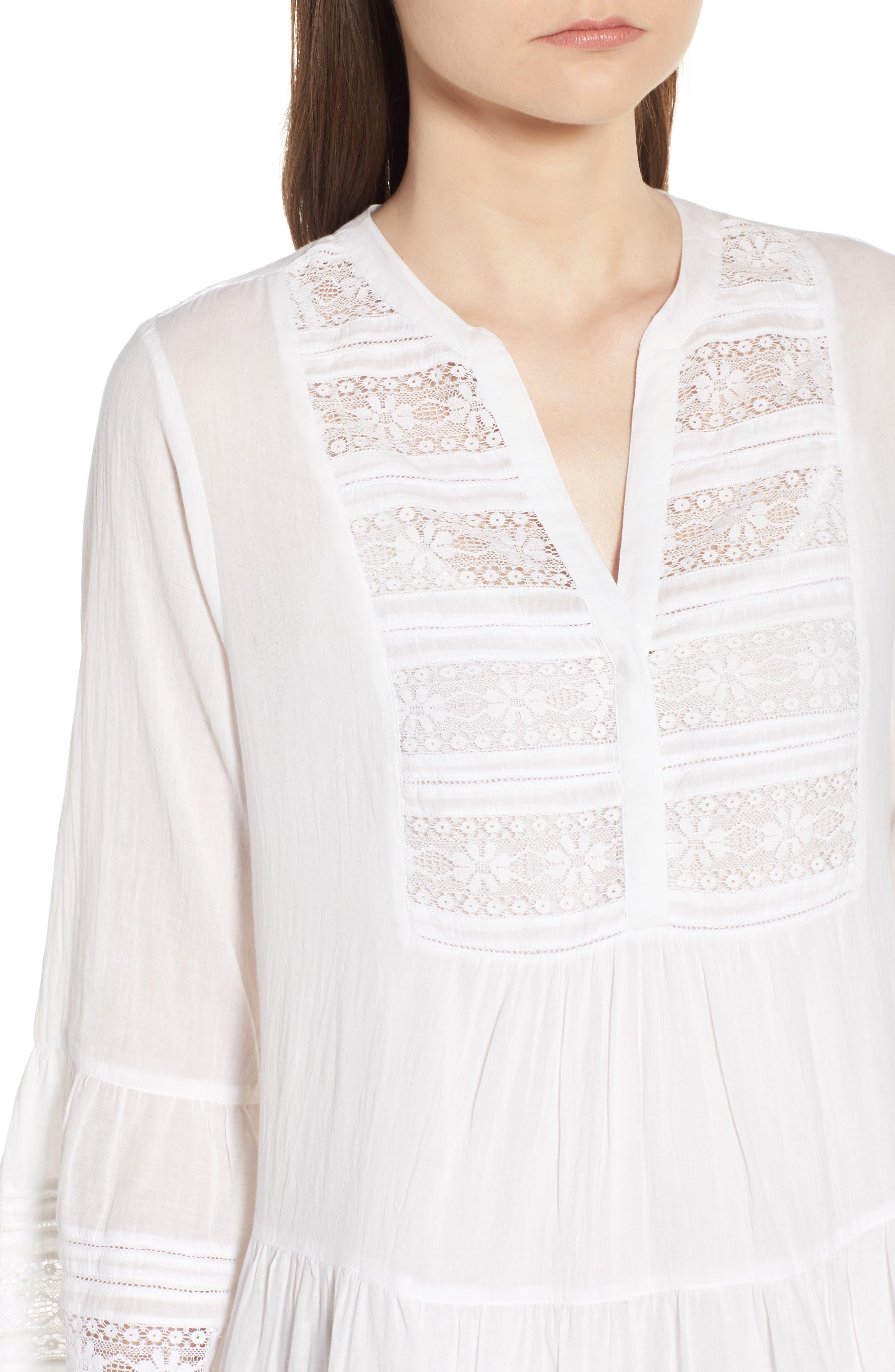 Lace Inset Cotton Gauze Dress,                             Alternate thumbnail 4, color,                             White
