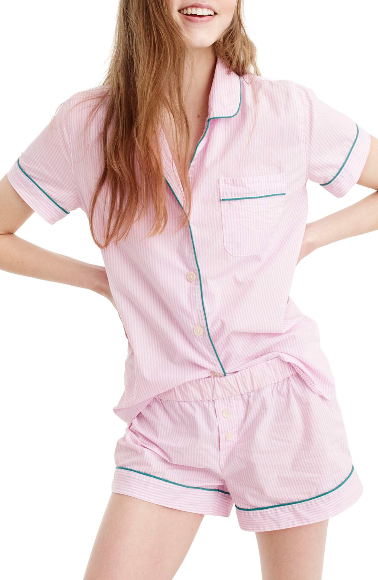 Tipped Short Pajamas,                             Main thumbnail 1, color,                             White Hibiscus