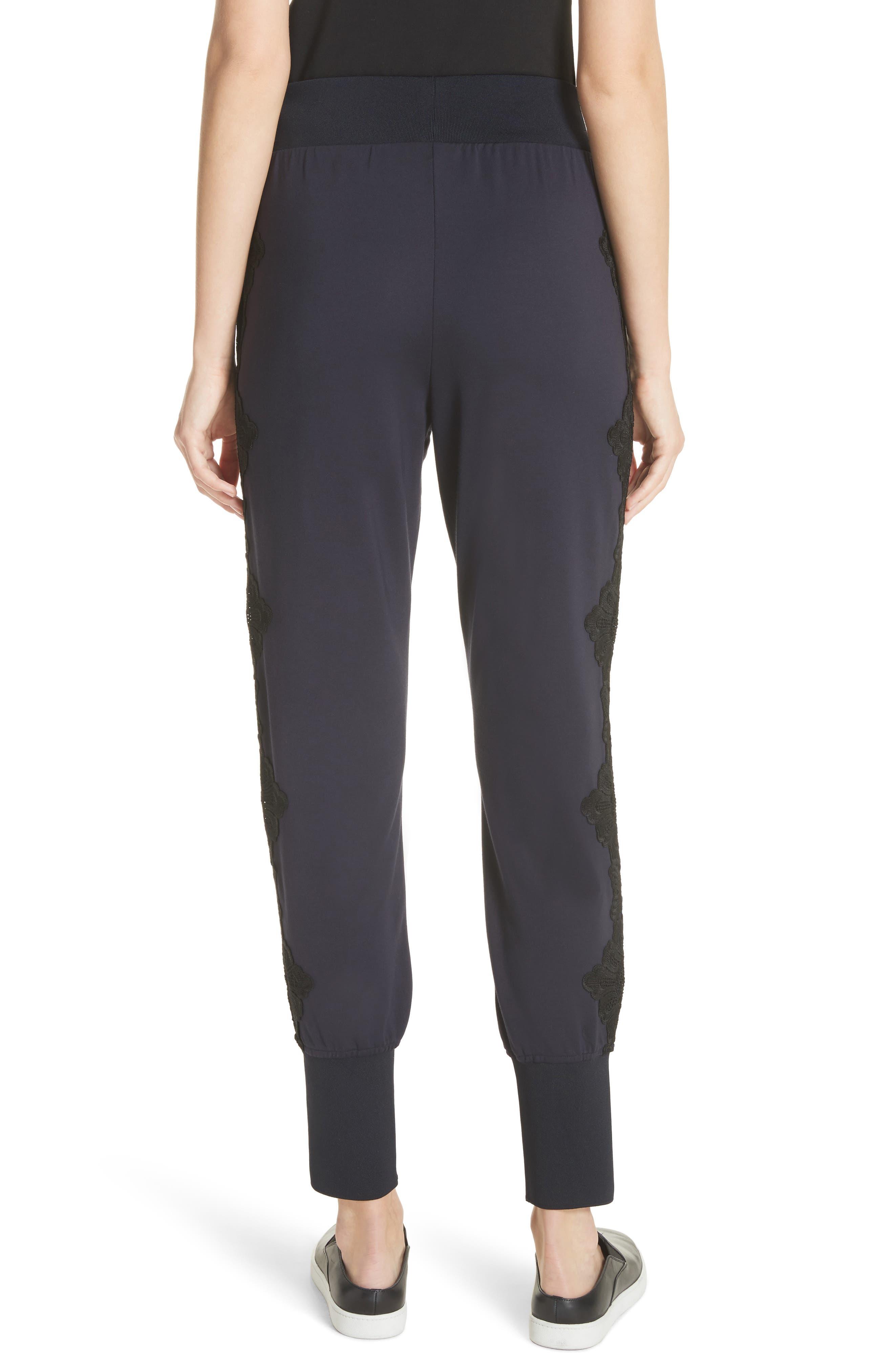 Lizeeba Lace Trim Jogger Pants,                             Alternate thumbnail 2, color,                             Navy