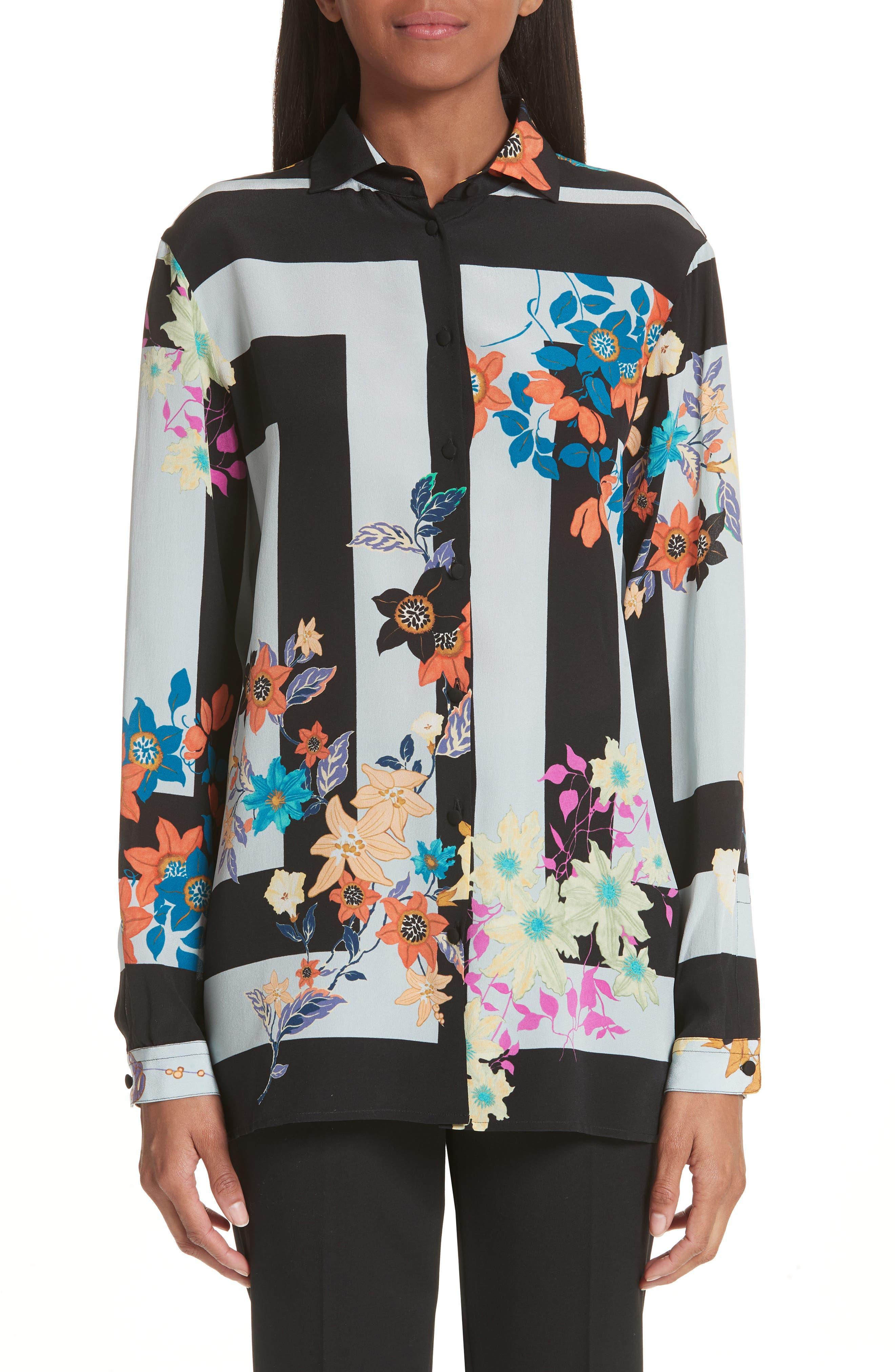 Etro Floral Print Silk Crêpe de Chine Blouse