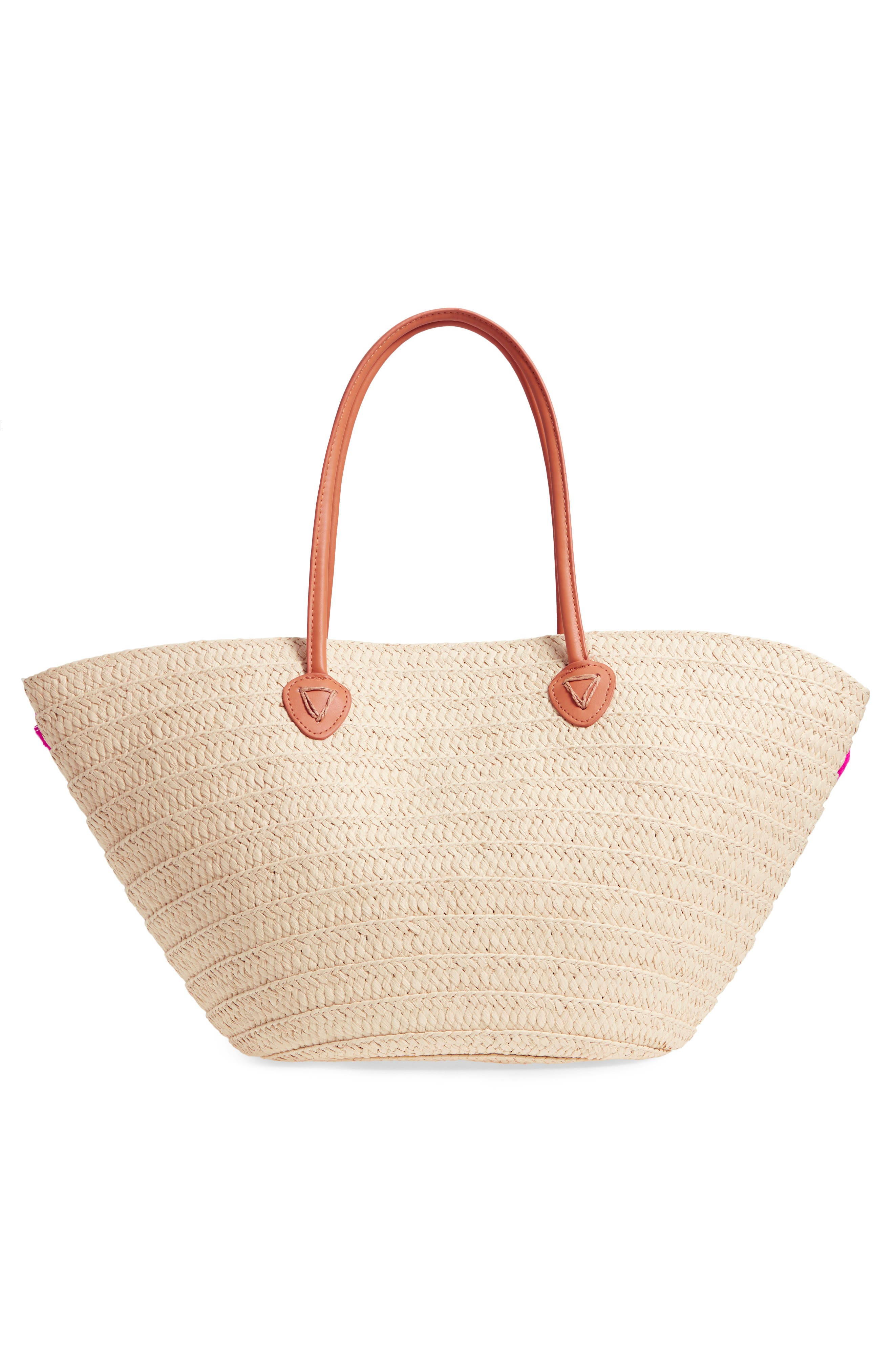 Klo Pompom Straw Tote,                             Alternate thumbnail 3, color,                             Pink