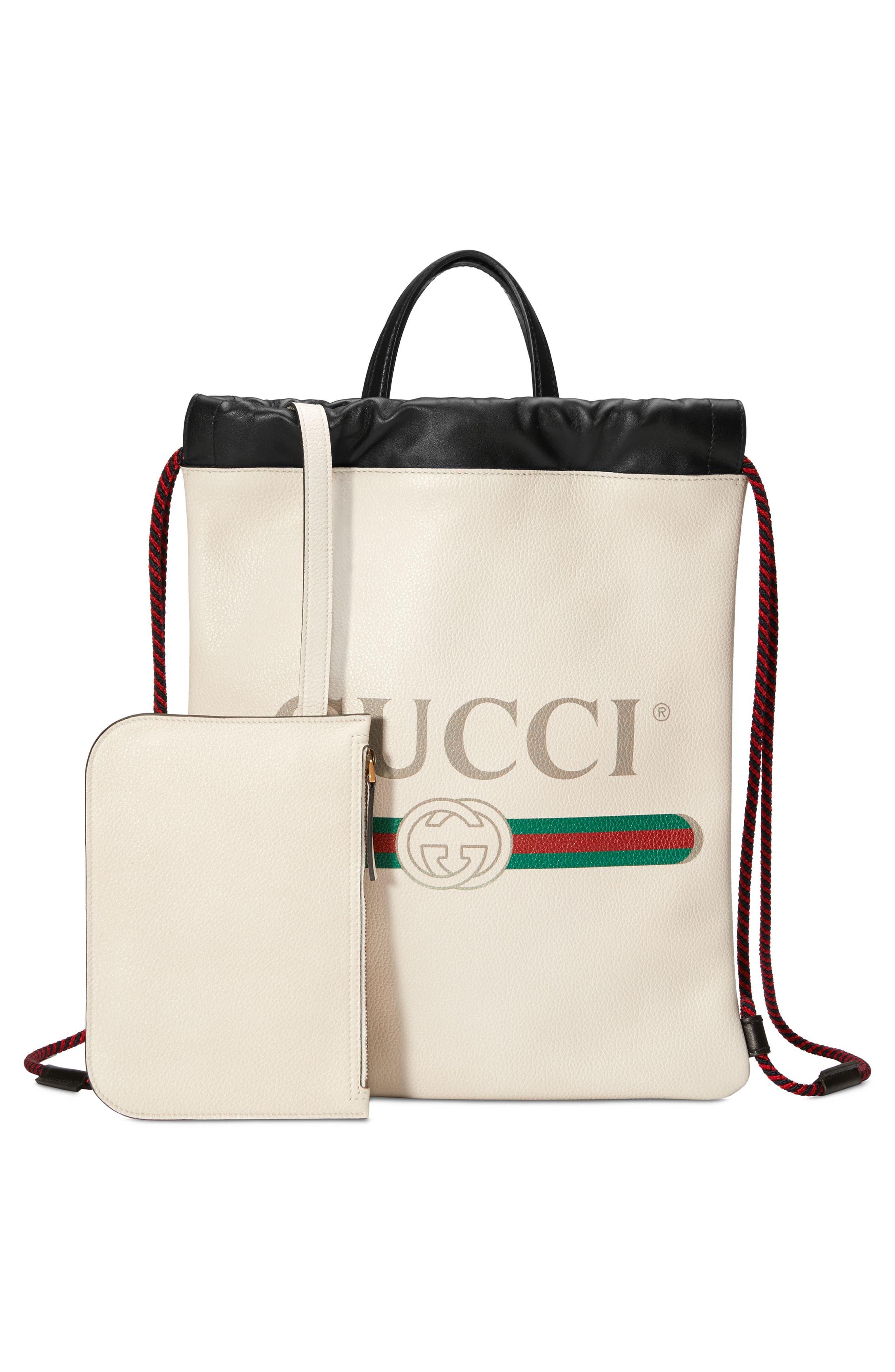 Small Logo Leather Drawstring Backpack,                             Alternate thumbnail 5, color,                             Mystic White/ Vert Red Vert
