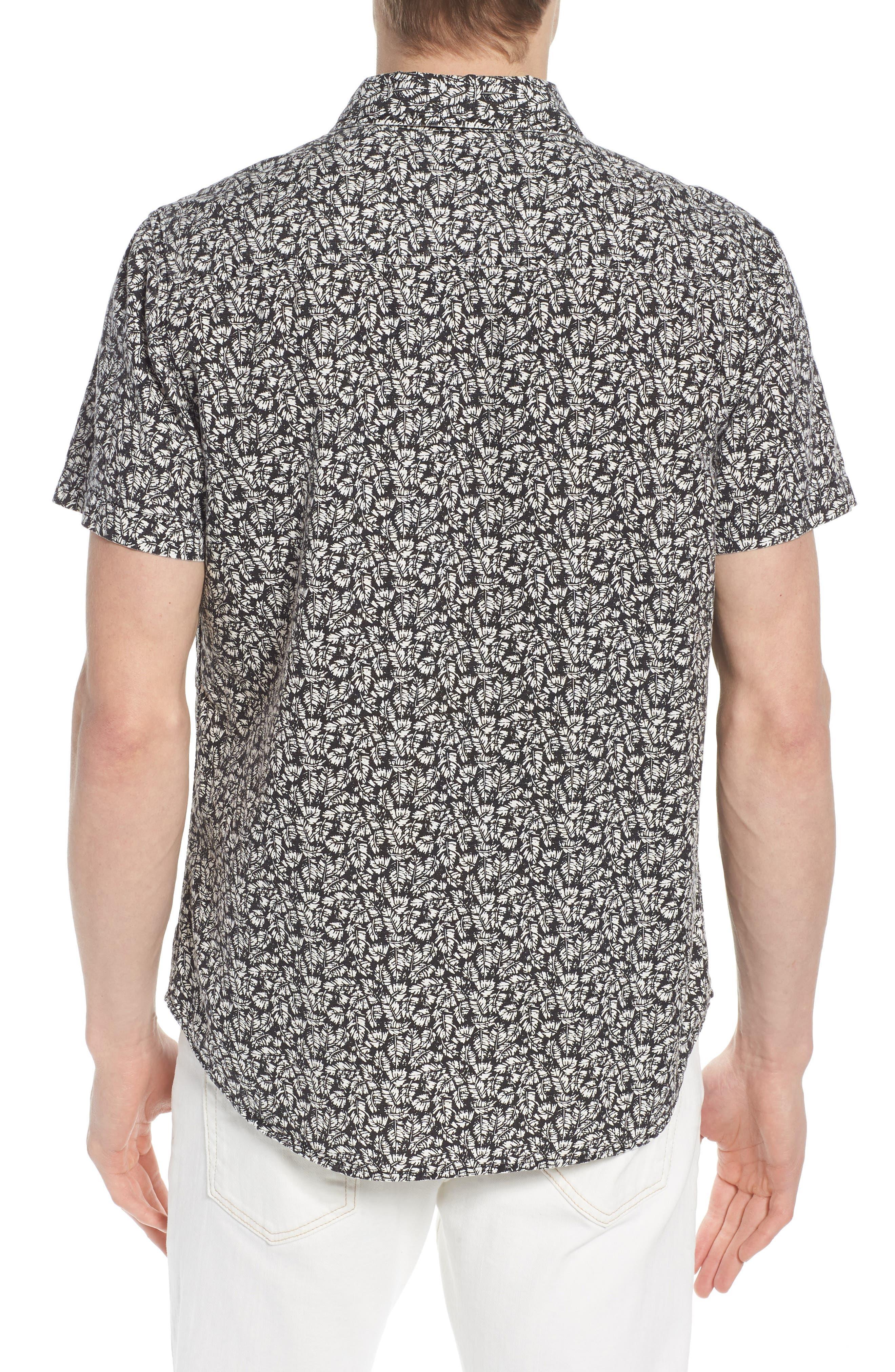 Nash Regular Fit Short Sleeve Sport Shirt,                             Alternate thumbnail 3, color,                             Palm Leaf True Black/ White