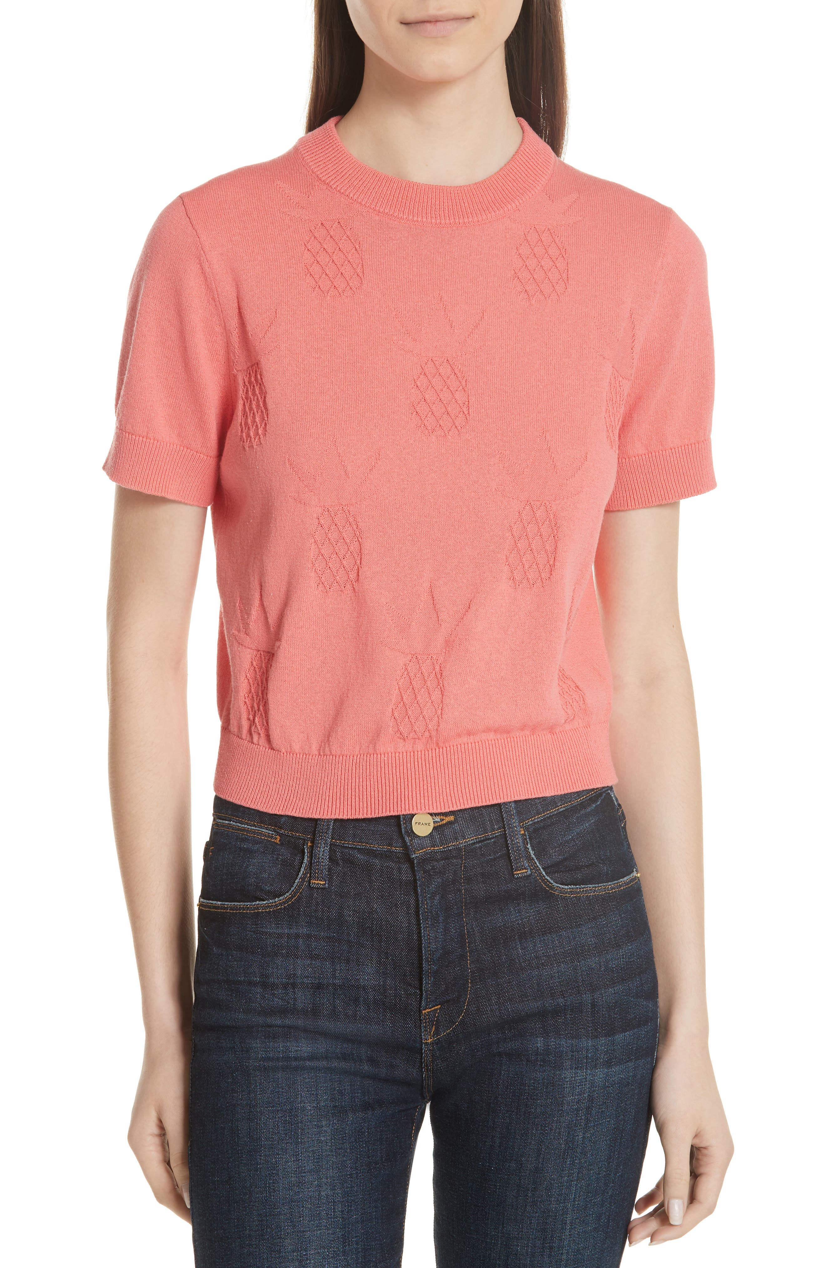 pineapple textured sweater,                             Main thumbnail 1, color,                             Apricot Sorbet