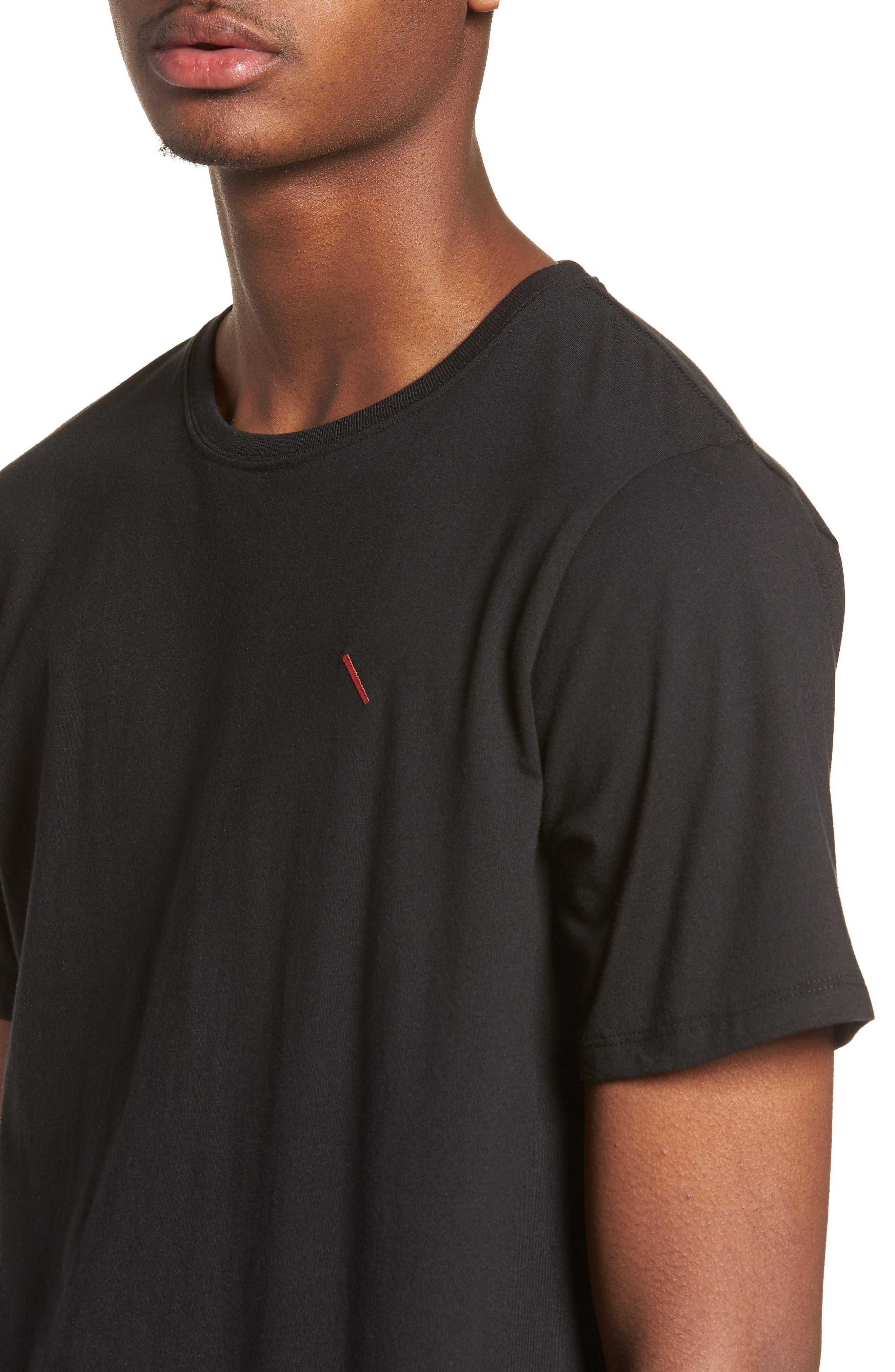 Embroidered Slash T-Shirt,                             Alternate thumbnail 4, color,                             Black