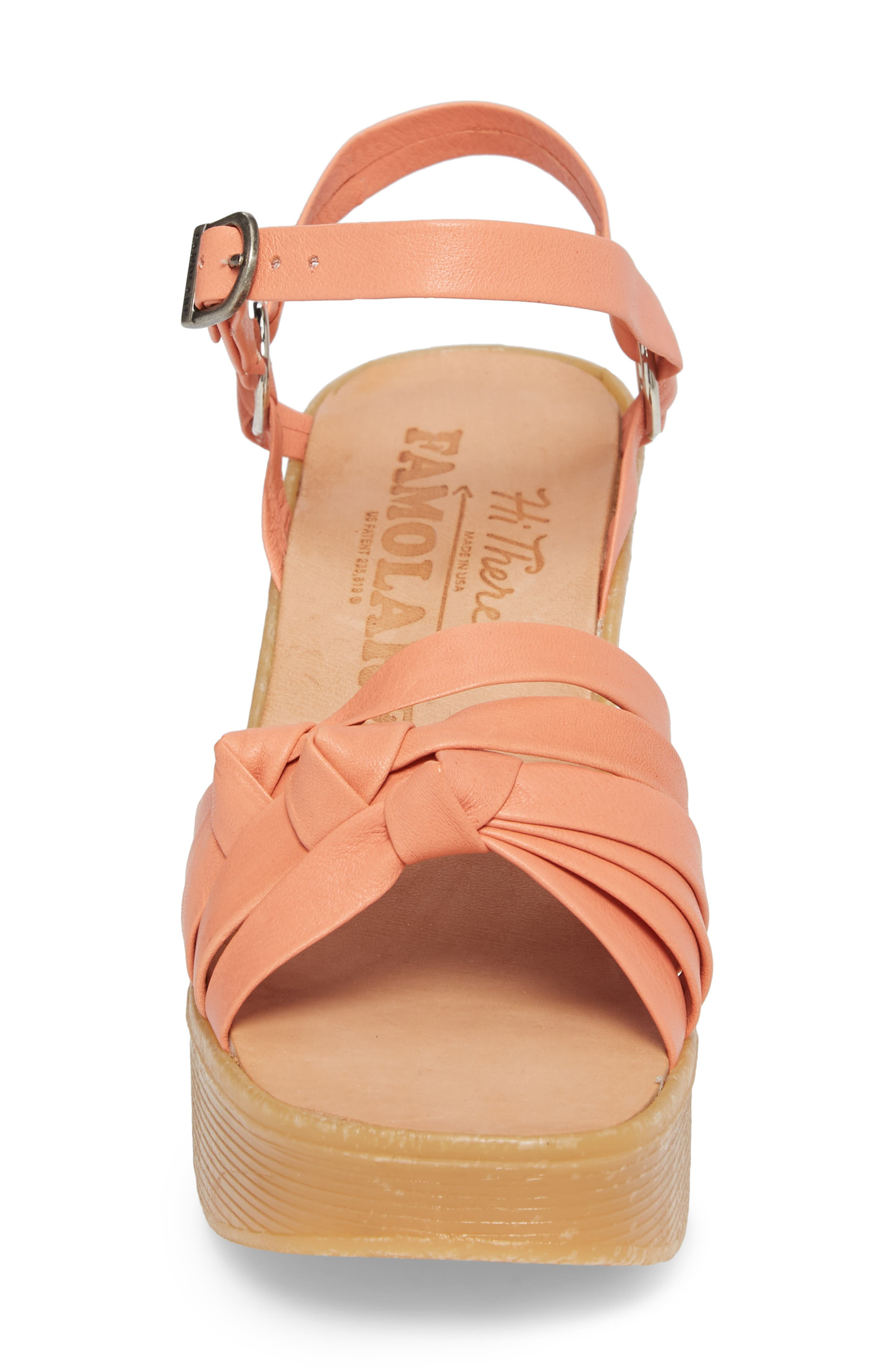 Knot So Fast Wedge Sandal,                             Alternate thumbnail 4, color,                             Salmon Leather
