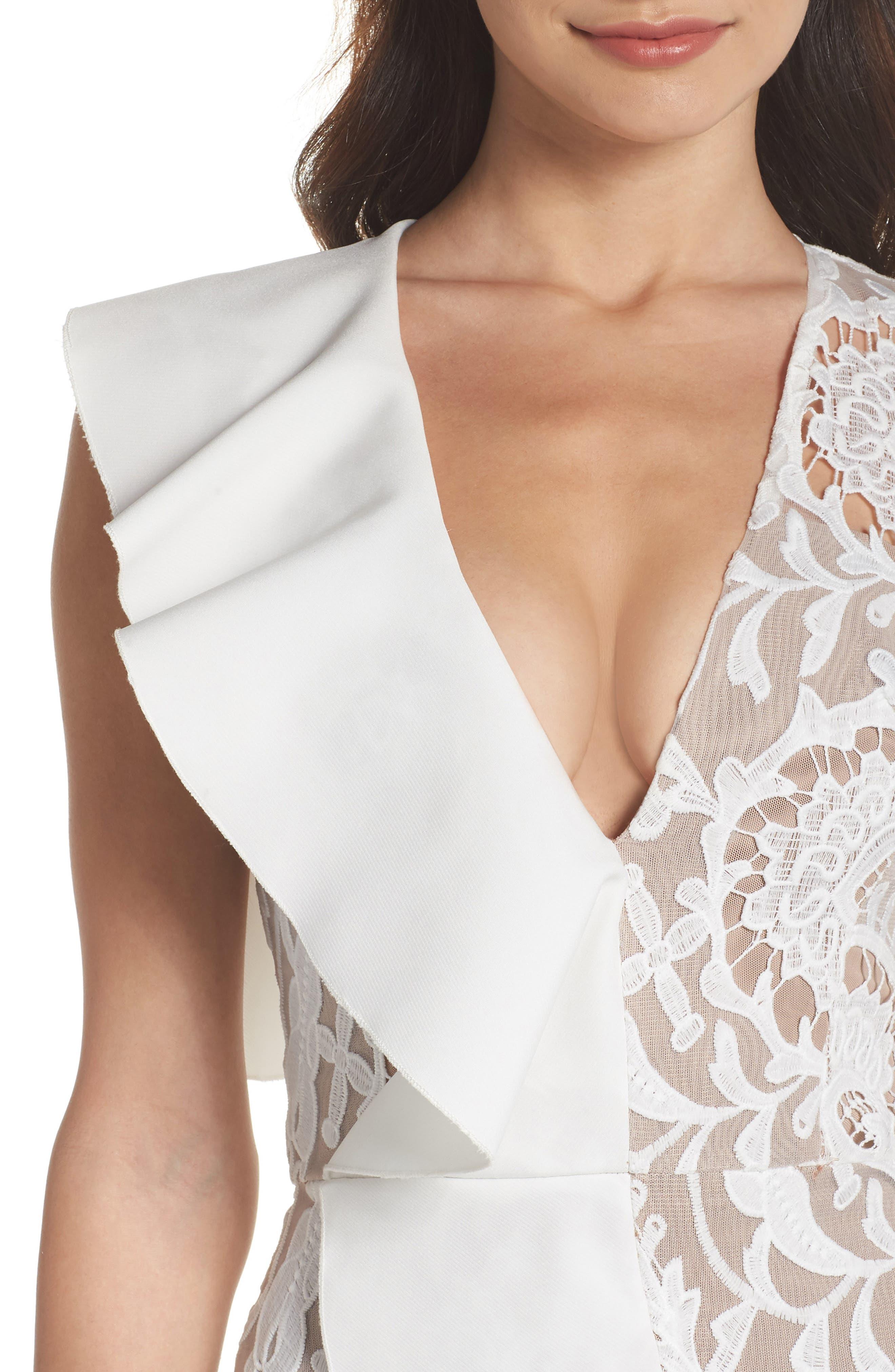 Rocha Waterfall Ruffle Lace Midi Dress,                             Alternate thumbnail 4, color,                             White