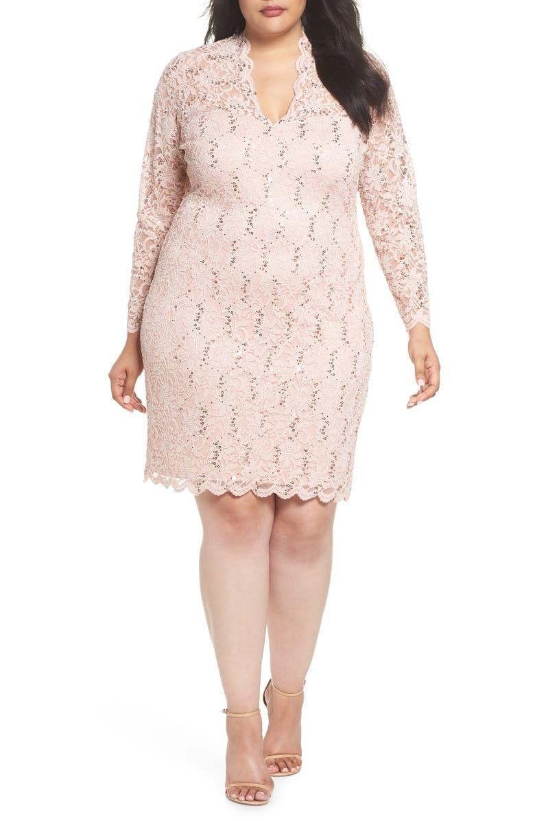 Sequin Stretch Lace Sheath Dress