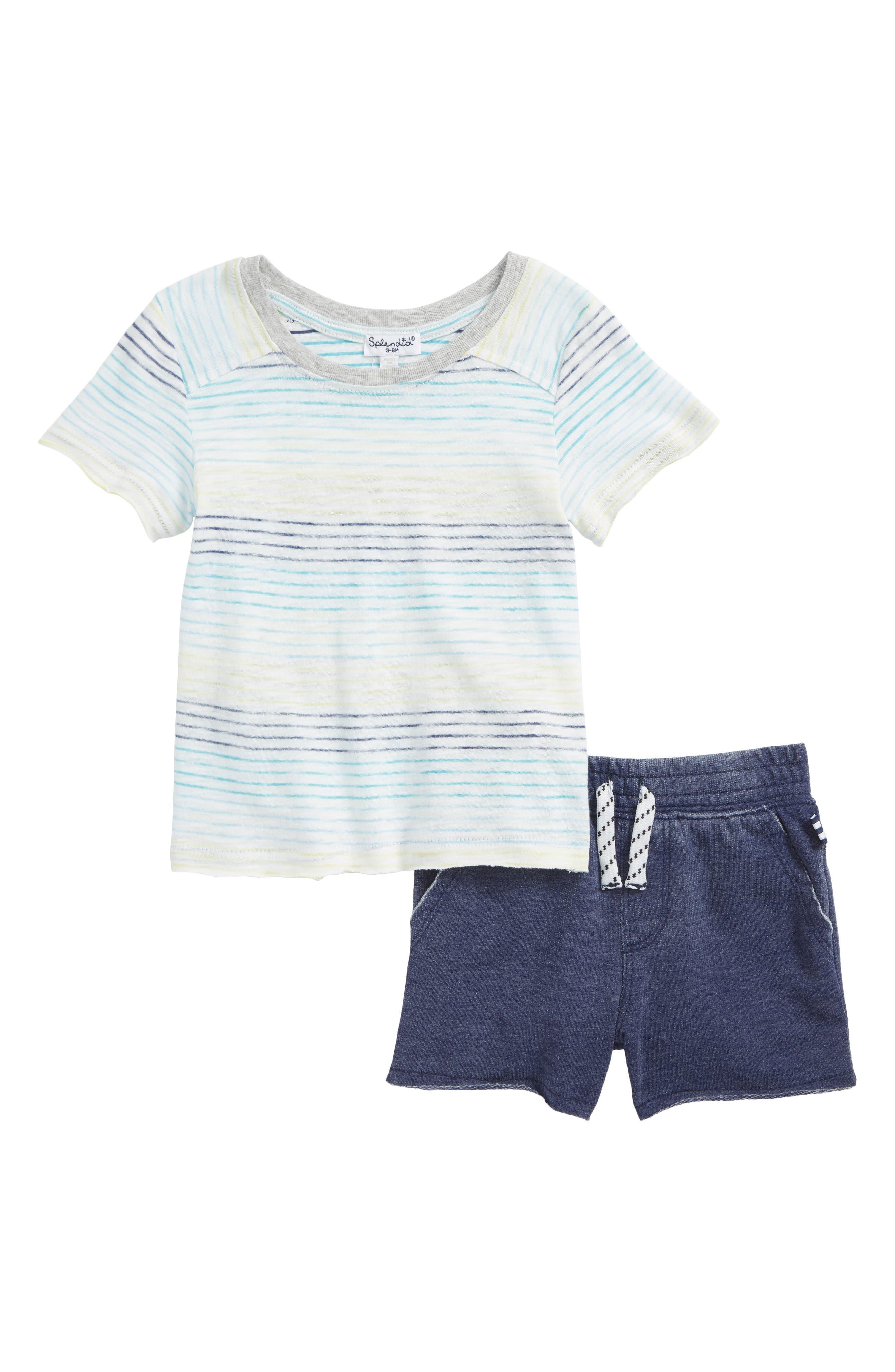 Raw Edge T-Shirt & Shorts Set,                         Main,                         color, Full Sail