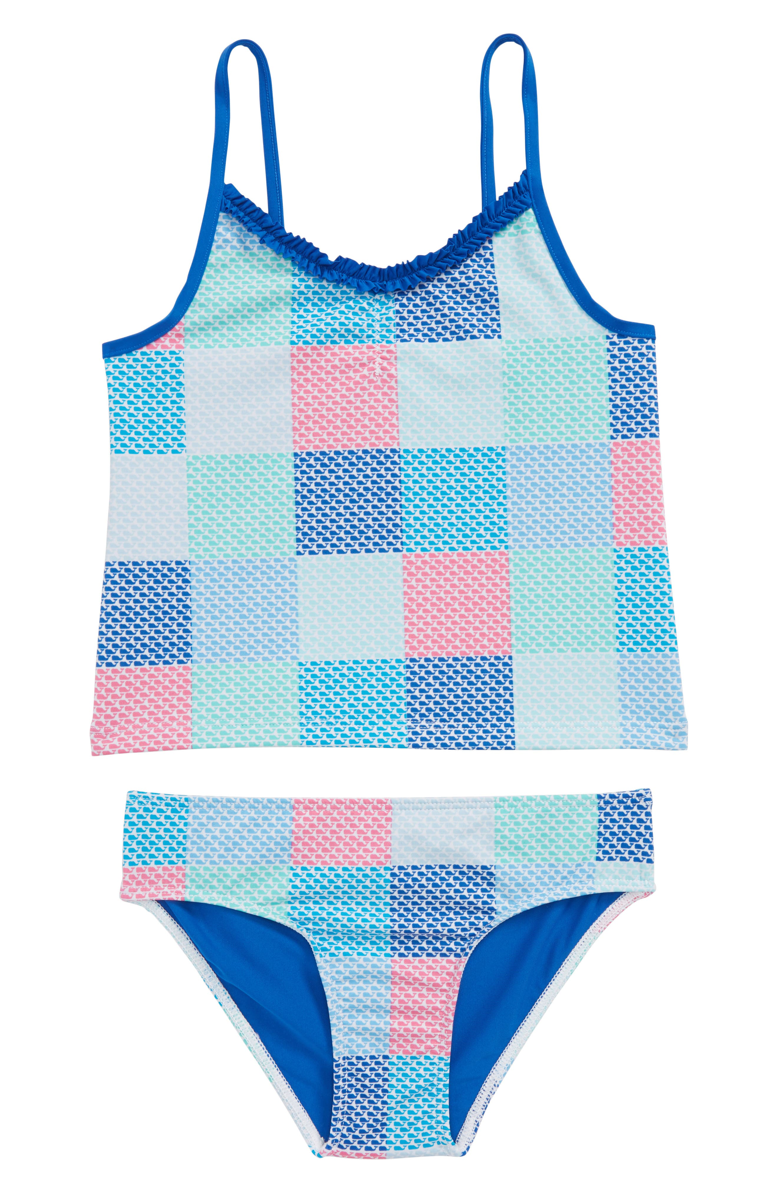 Patchwork Whale Two-Piece Tankini Swimsuit,                         Main,                         color, Cool Breeze