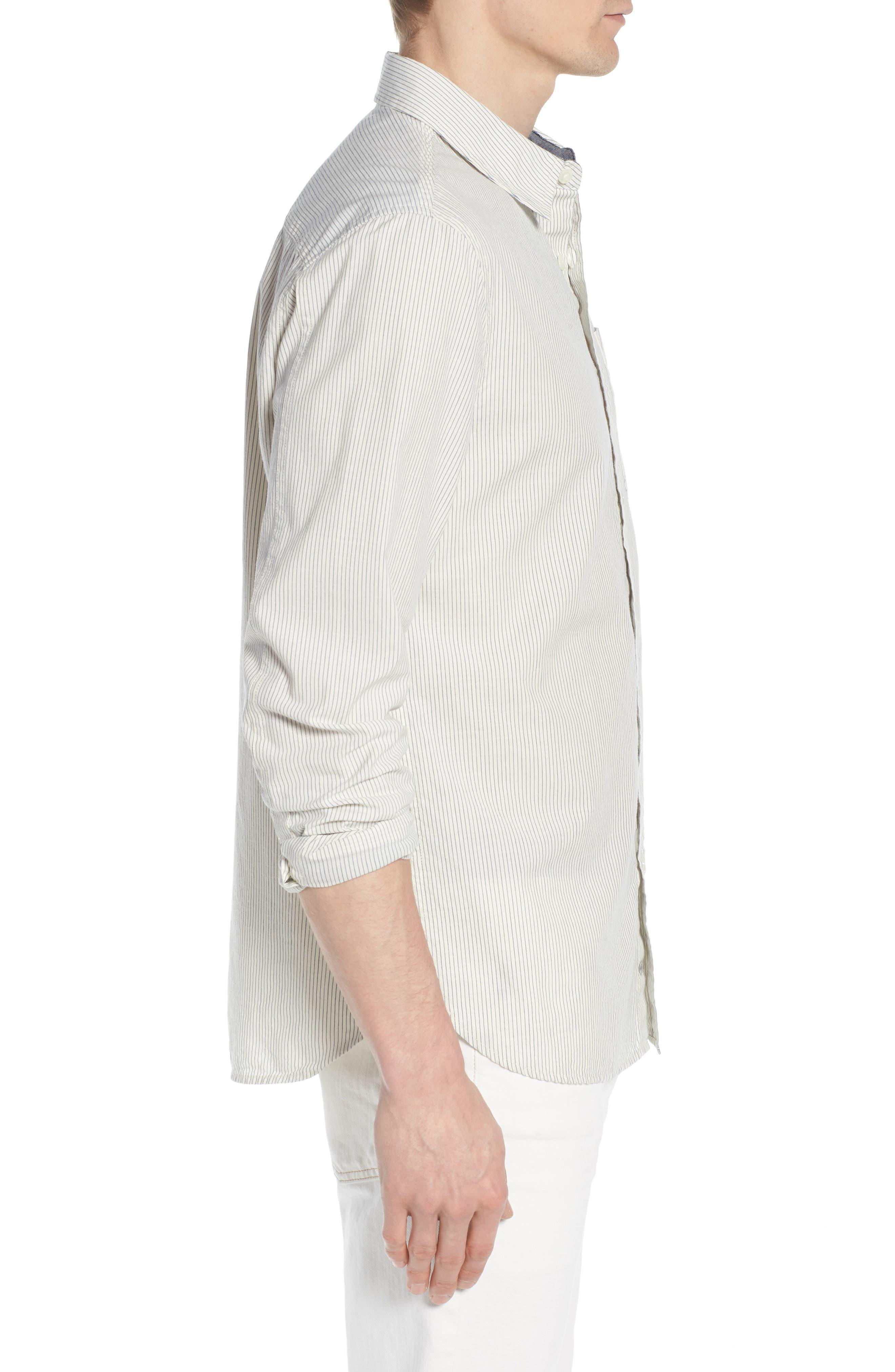 Colton Regular Fit Stripe Sport Shirt,                             Alternate thumbnail 4, color,                             Natural/Mosaic Blue
