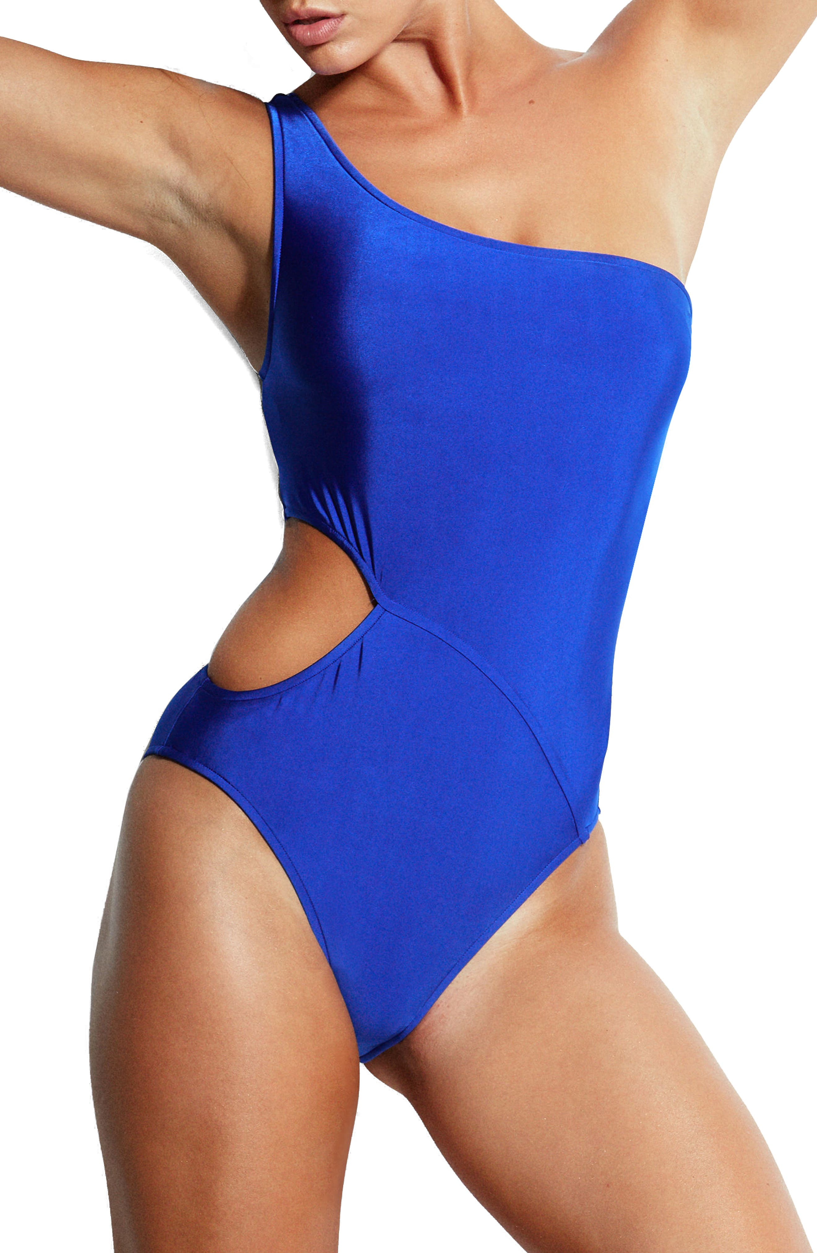 Monroe One-Shoulder One-Piece Swimsuit,                             Main thumbnail 1, color,                             Blue Ray