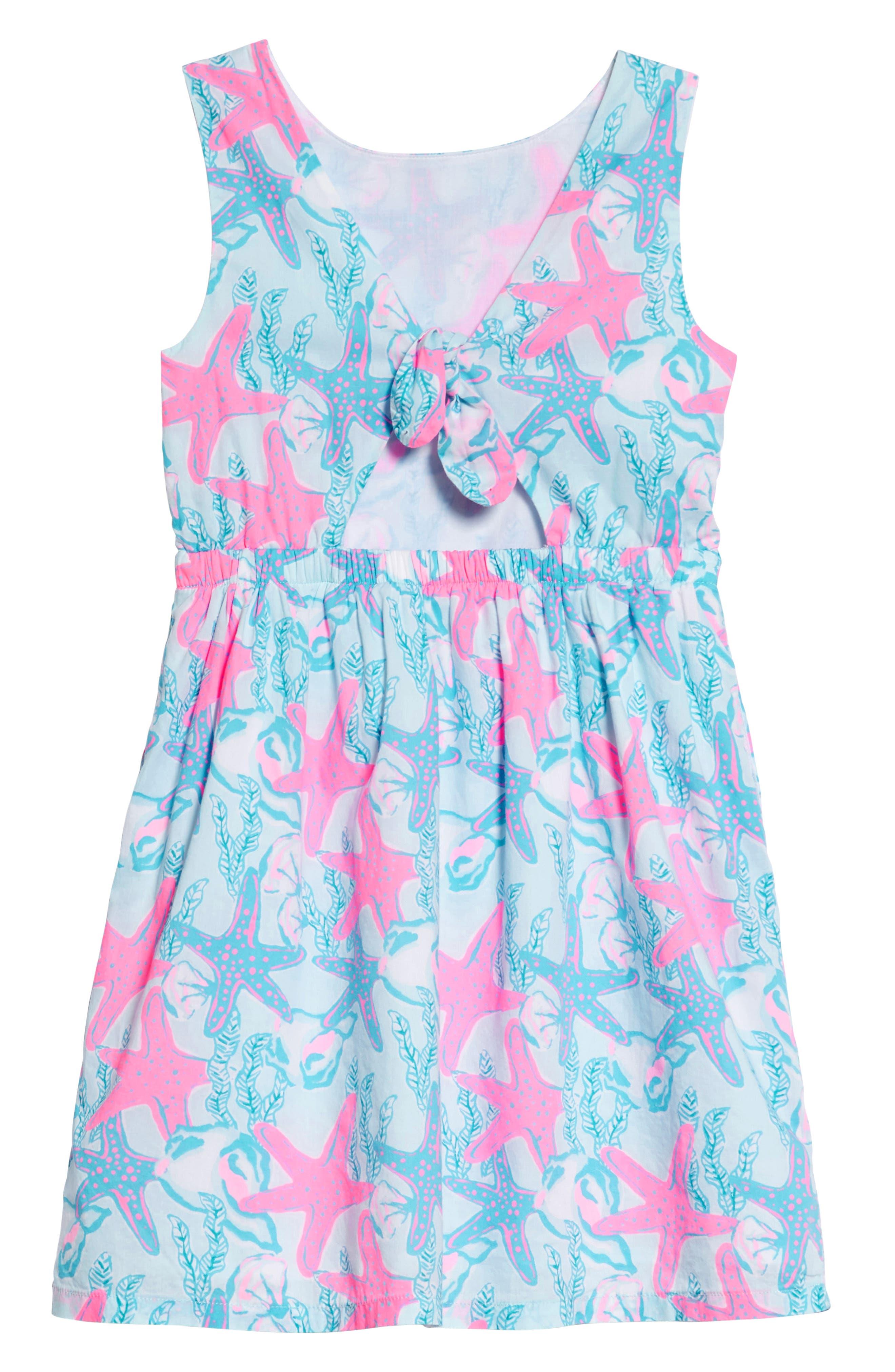 Sleeveless Print Dress,                             Alternate thumbnail 2, color,                             Beachcomber Blue