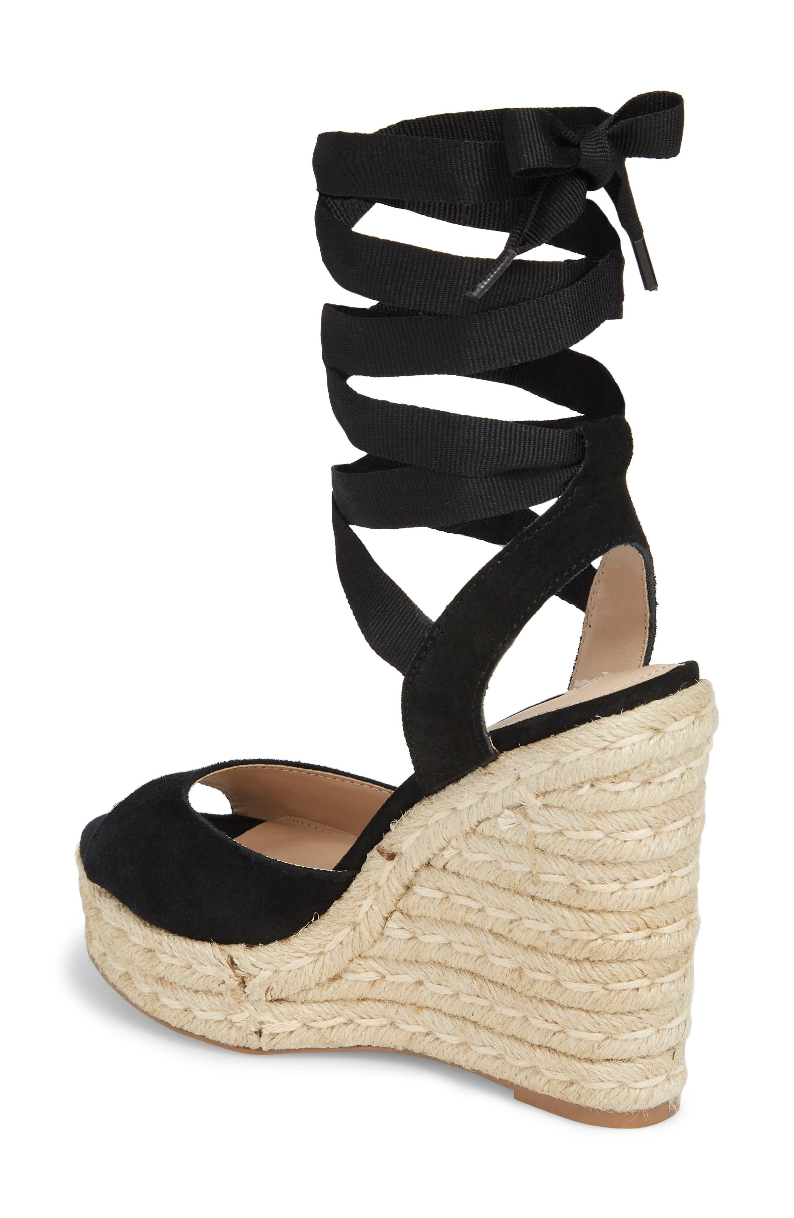 Secret Wedge Wraparound Sandal,                             Alternate thumbnail 2, color,                             Black Suede