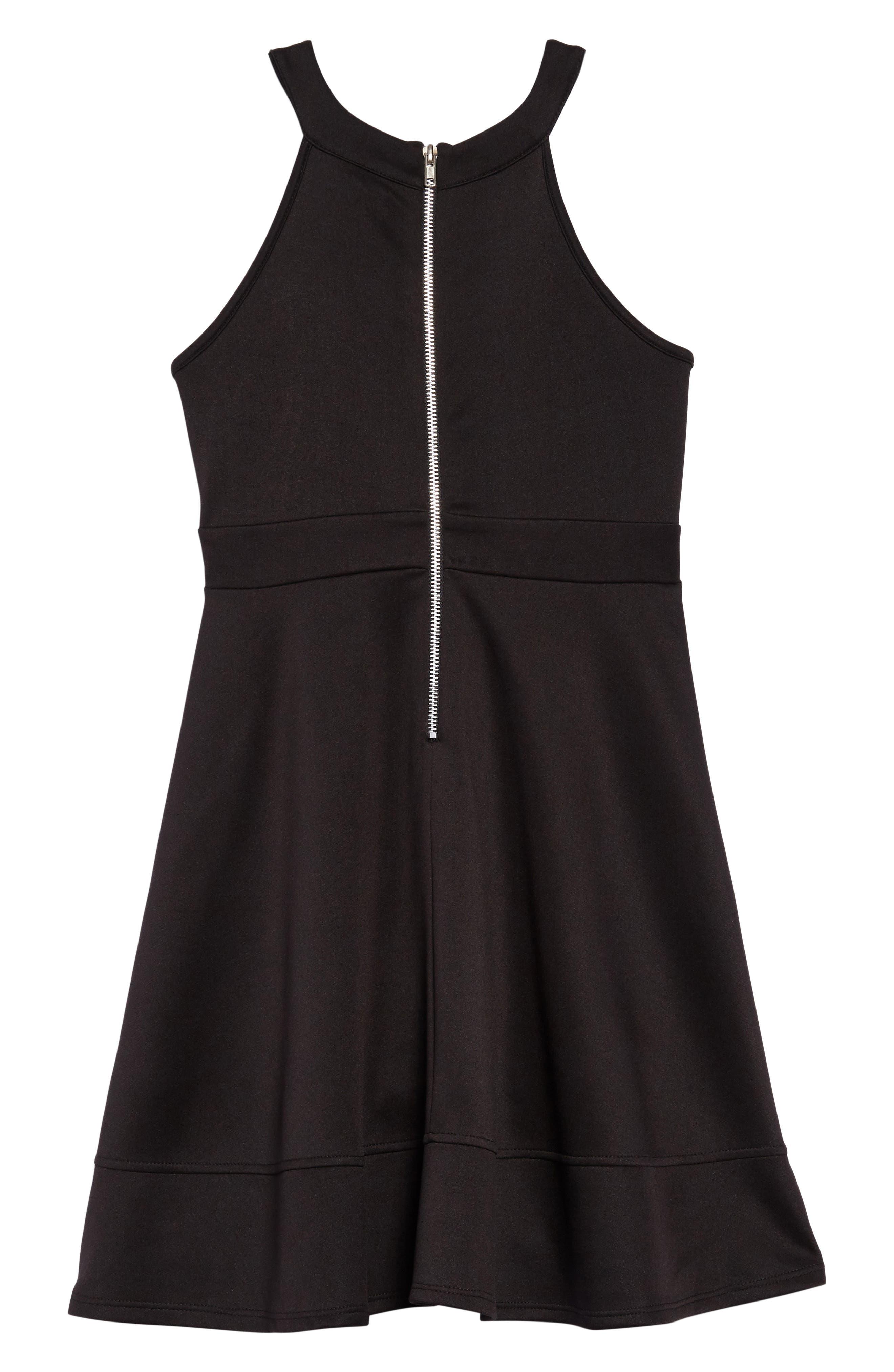 Illusion Neck Skater Dress,                             Alternate thumbnail 2, color,                             Black