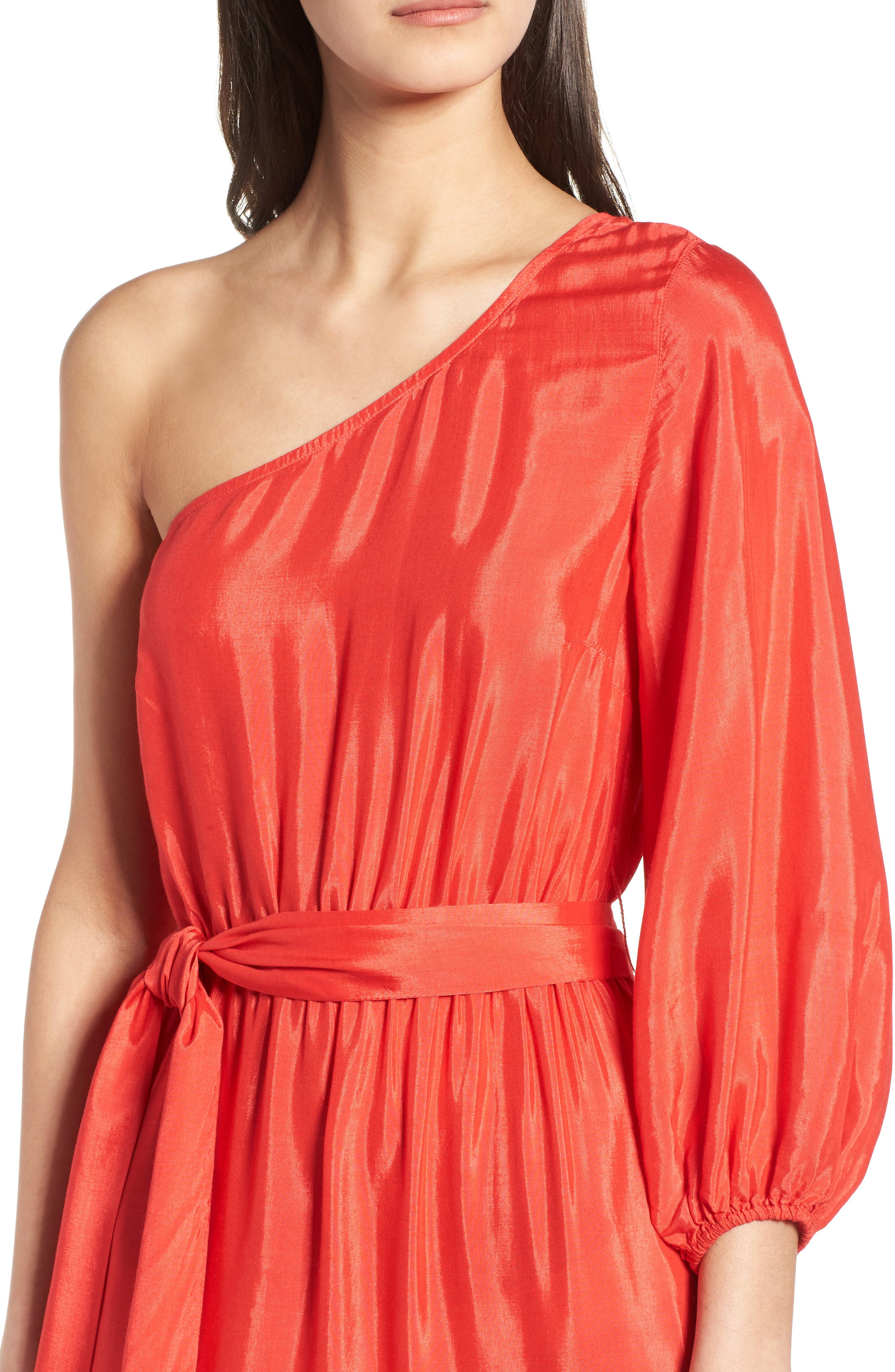 One-Shoulder Maxi Dress,                             Alternate thumbnail 4, color,                             Bright Red