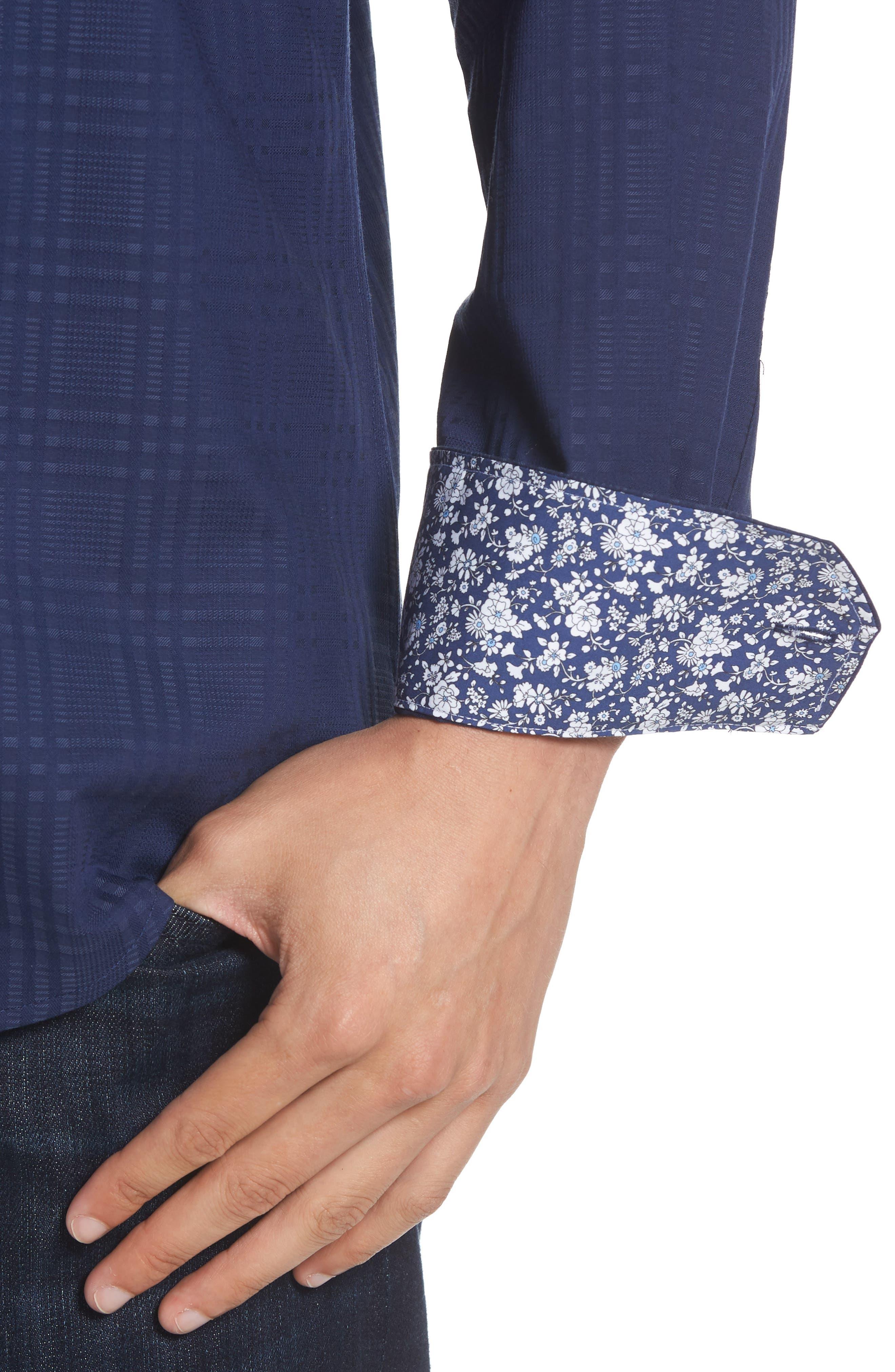 Alternate Image 2  - Bugatchi Shaped Fit Tonal Plaid Sport Shirt