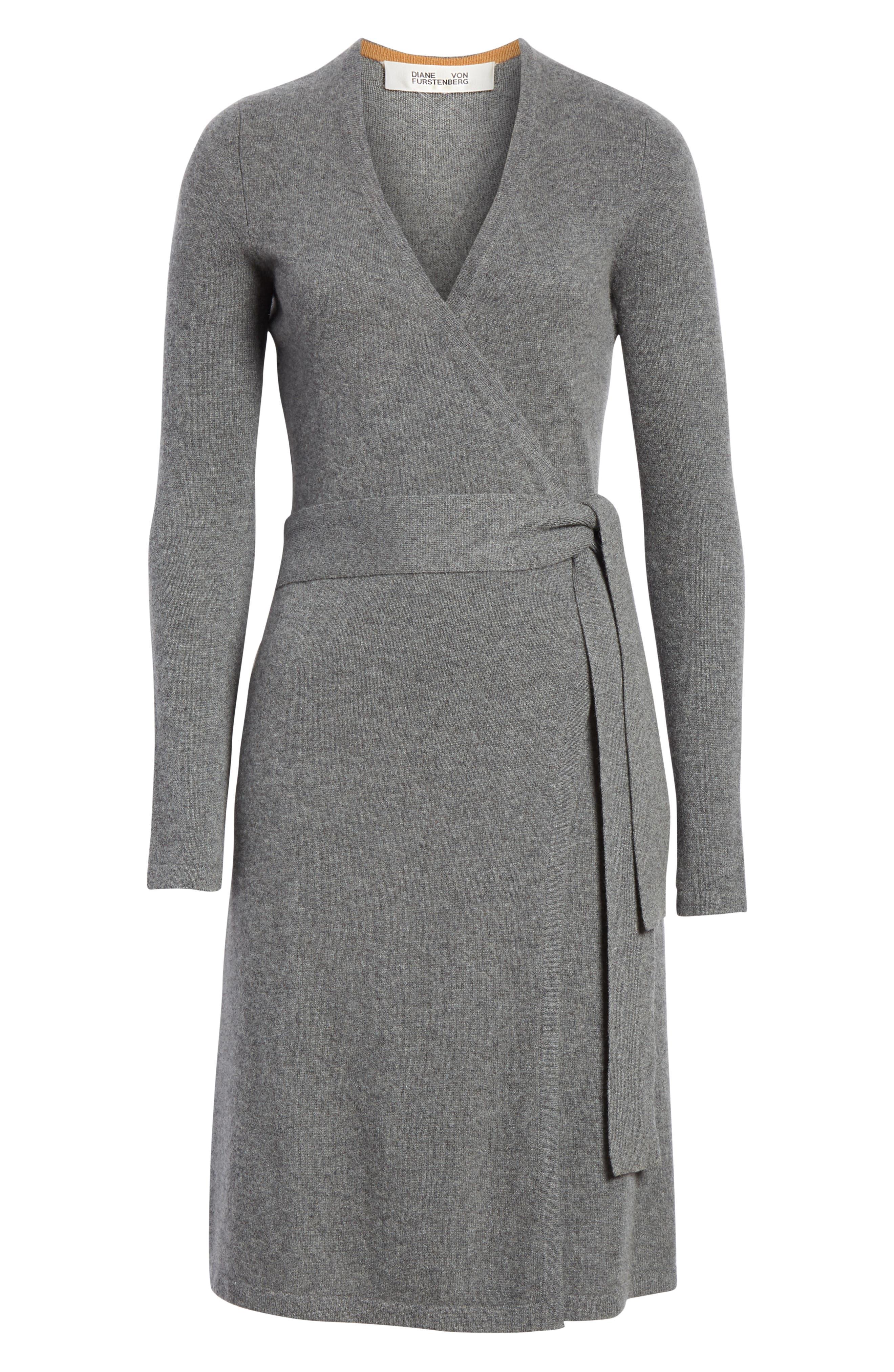 Diane Von Furstenberg Linda Cashmere Wrap Dress,                             Alternate thumbnail 6, color,                             Charcoal Melange