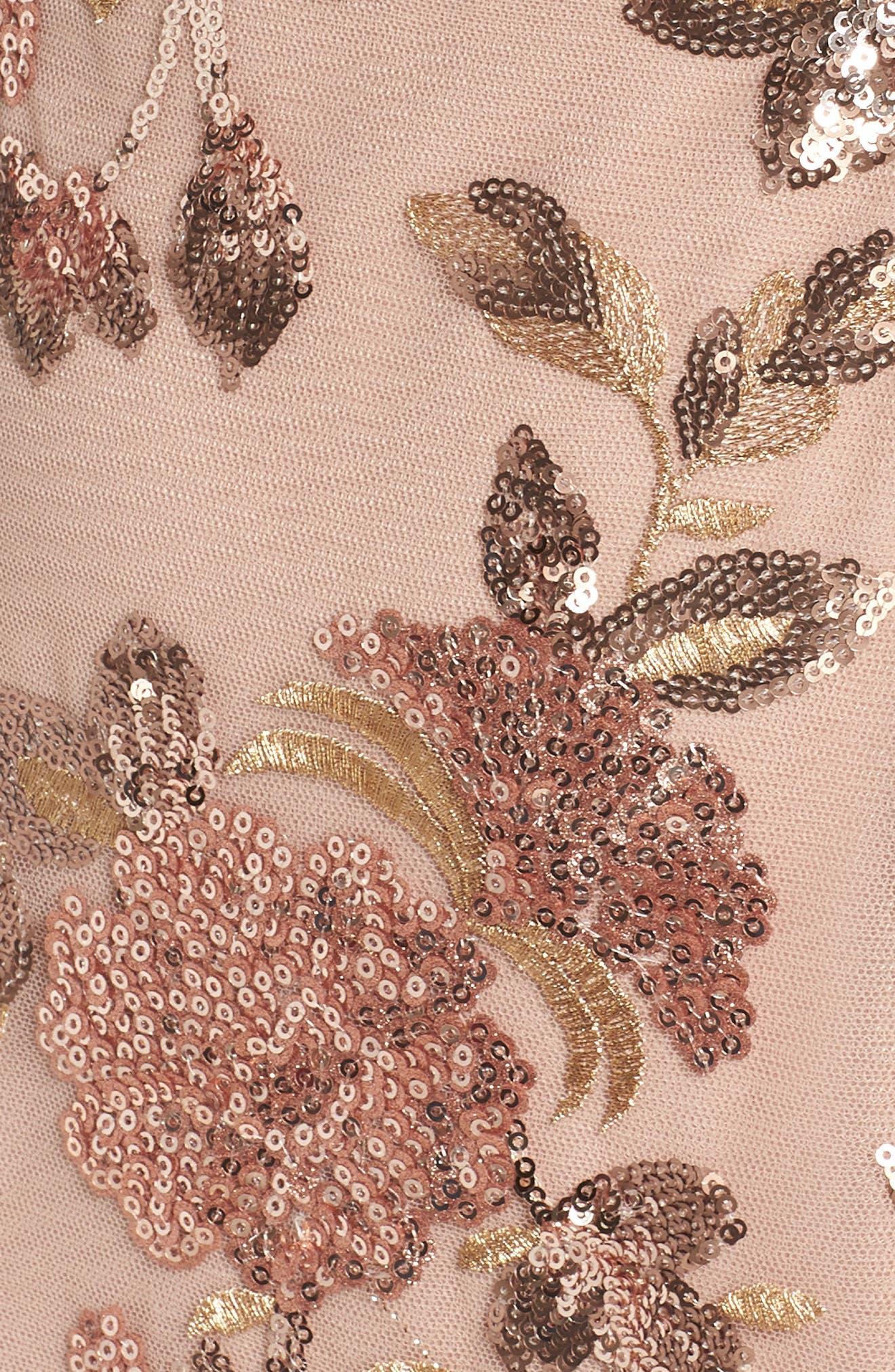 Metallic Floral Sequin Cocktail Dress,                             Alternate thumbnail 5, color,                             Antique Bronze