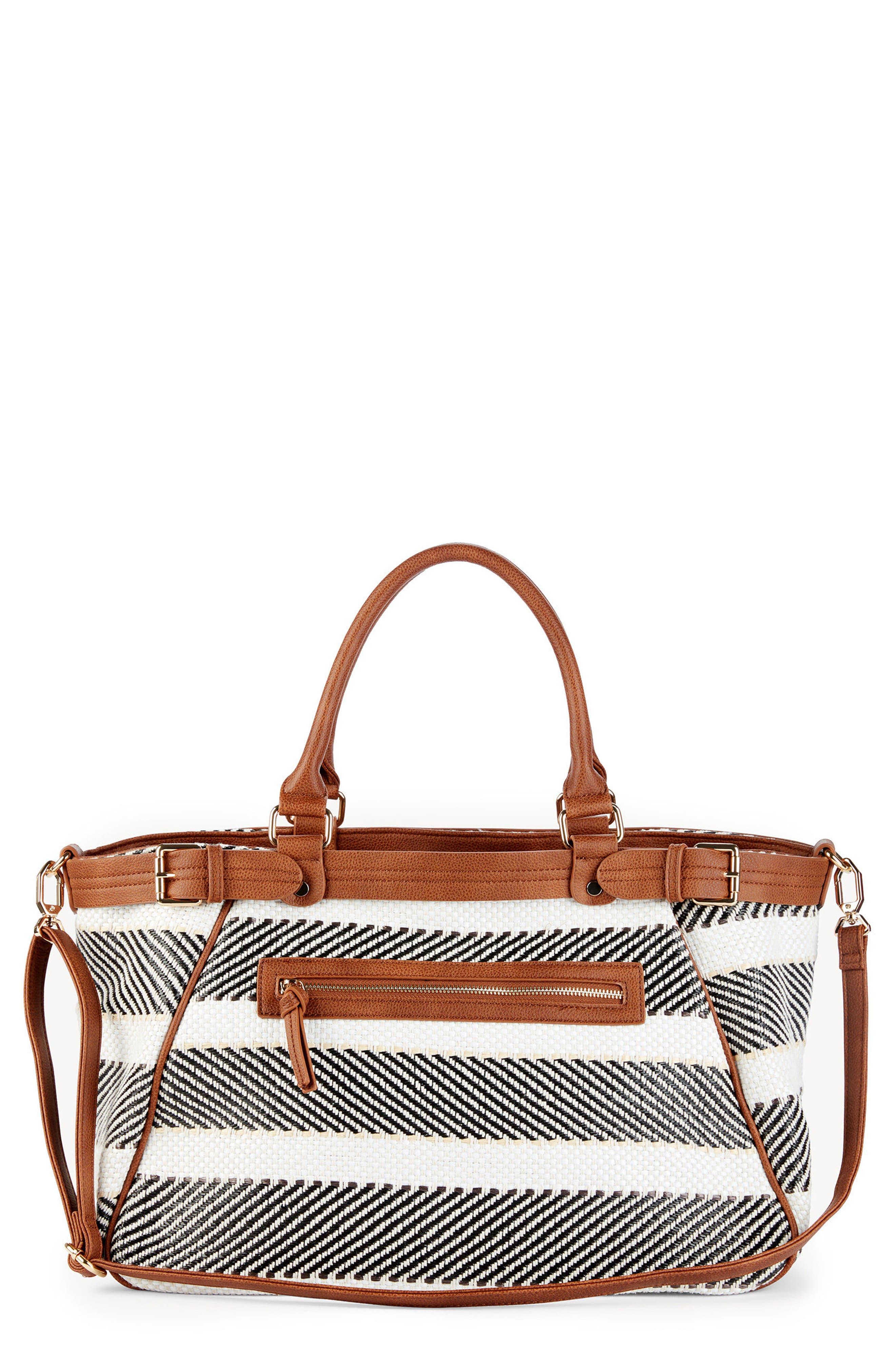 Stripe Woven Weekend Bag,                             Main thumbnail 1, color,                             Black/ Cream Combo