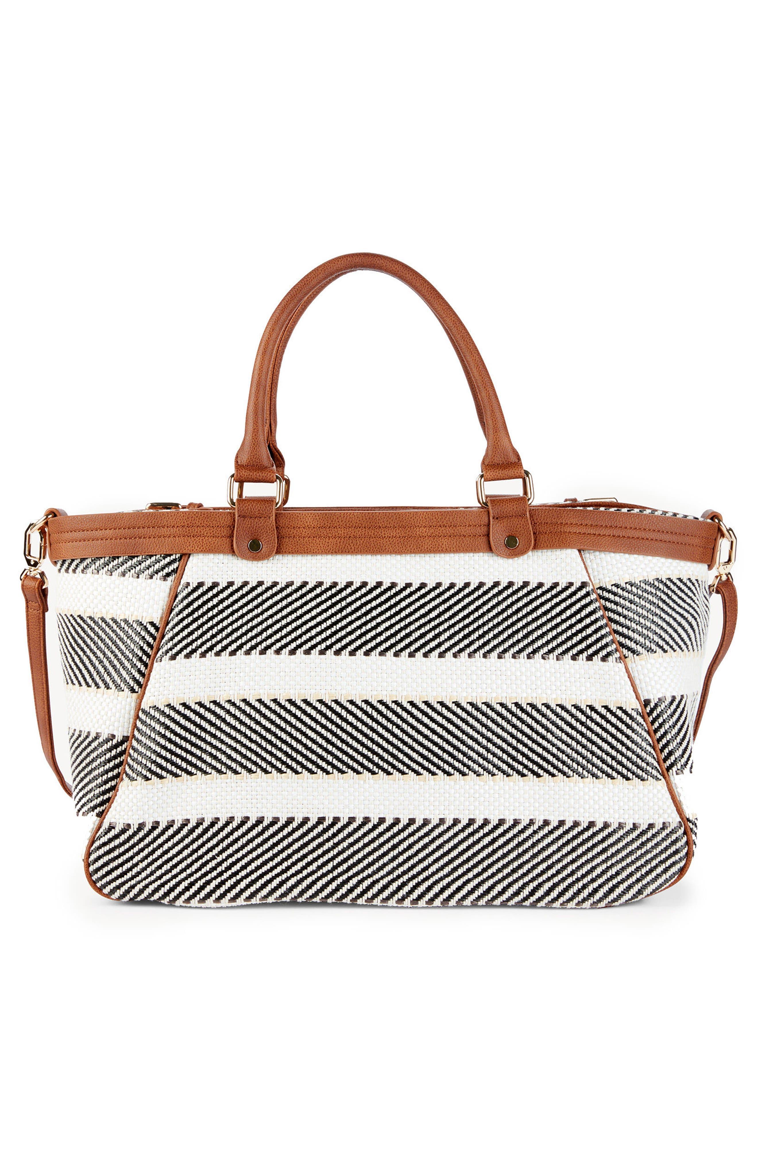 Stripe Woven Weekend Bag,                             Alternate thumbnail 3, color,                             Black/ Cream Combo