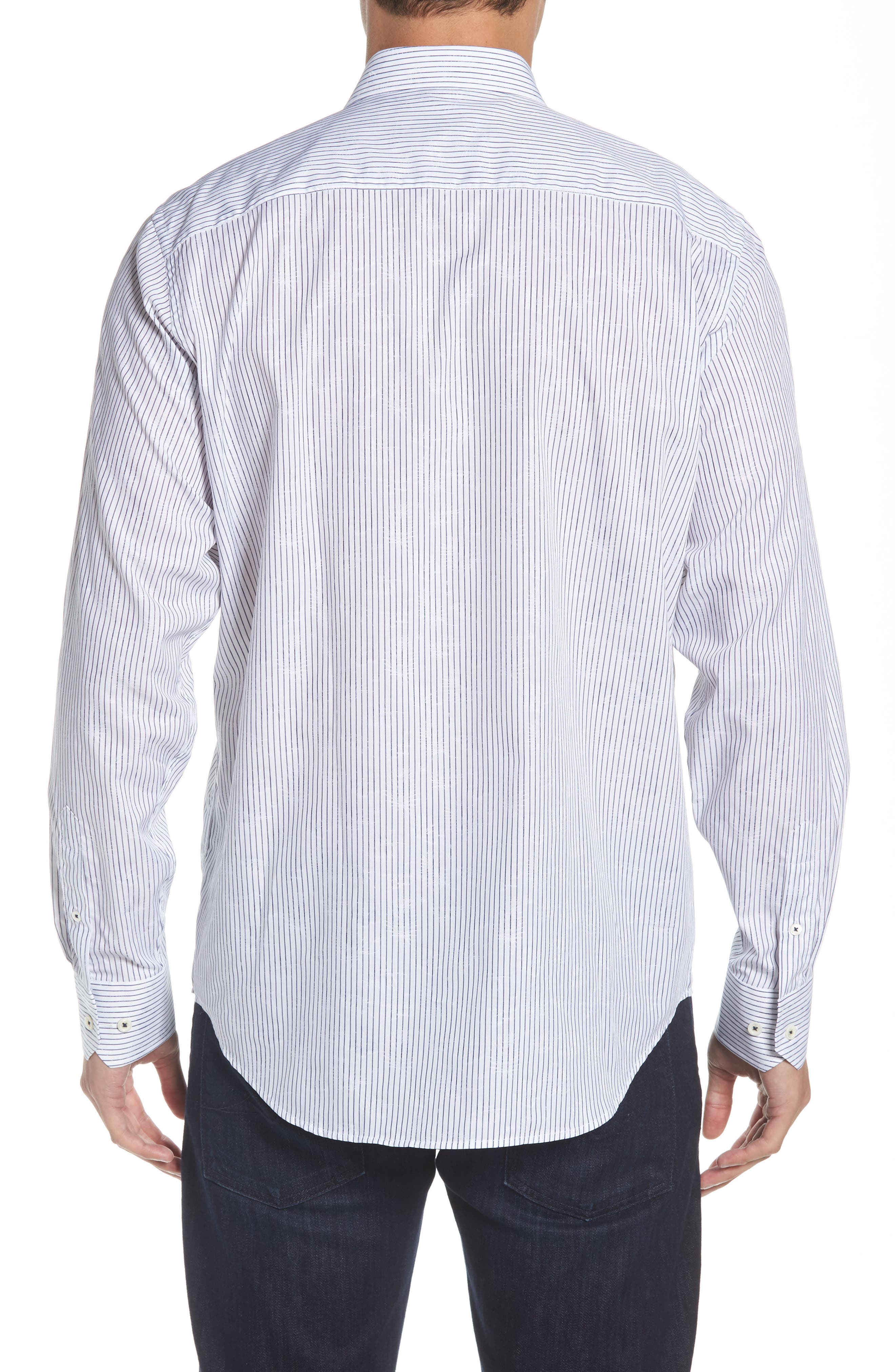 Classic Fit Stripe Jacquard Sport Shirt,                             Alternate thumbnail 3, color,                             Navy