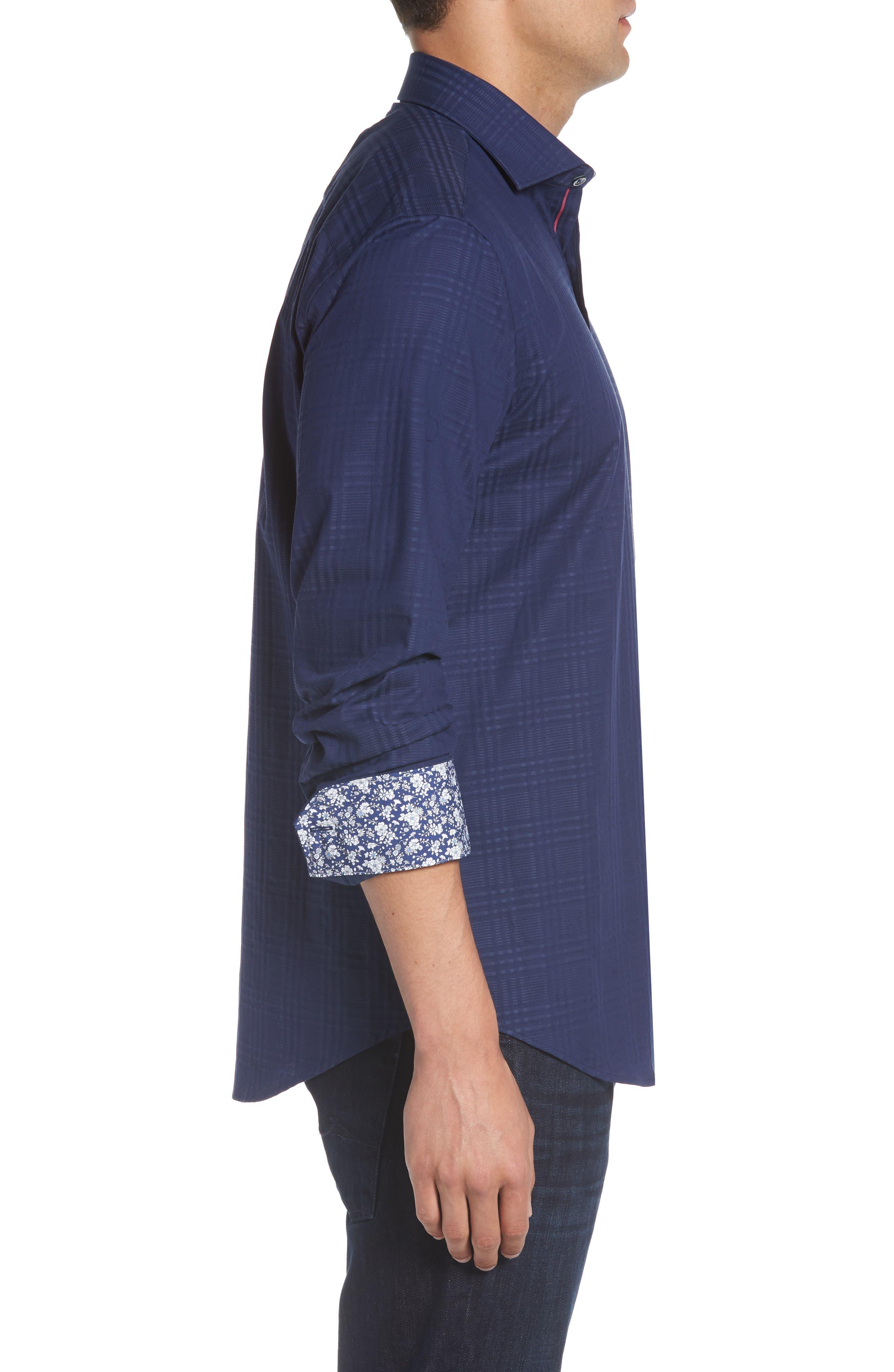 Alternate Image 4  - Bugatchi Shaped Fit Tonal Plaid Sport Shirt