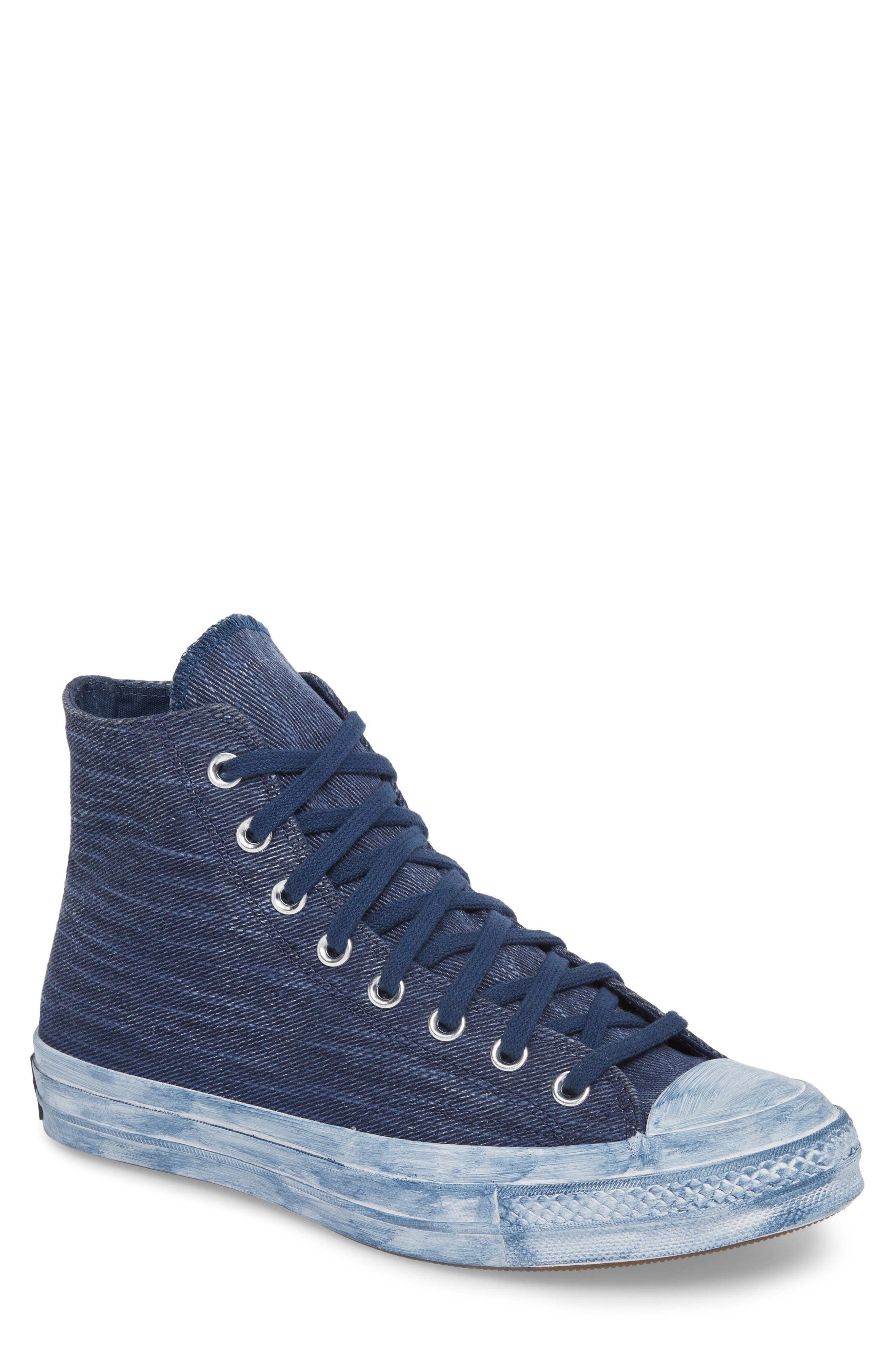 Chuck Taylor<sup>®</sup> All Star<sup>®</sup> Overdyed Linen High Top Sneaker,                         Main,                         color, Navy
