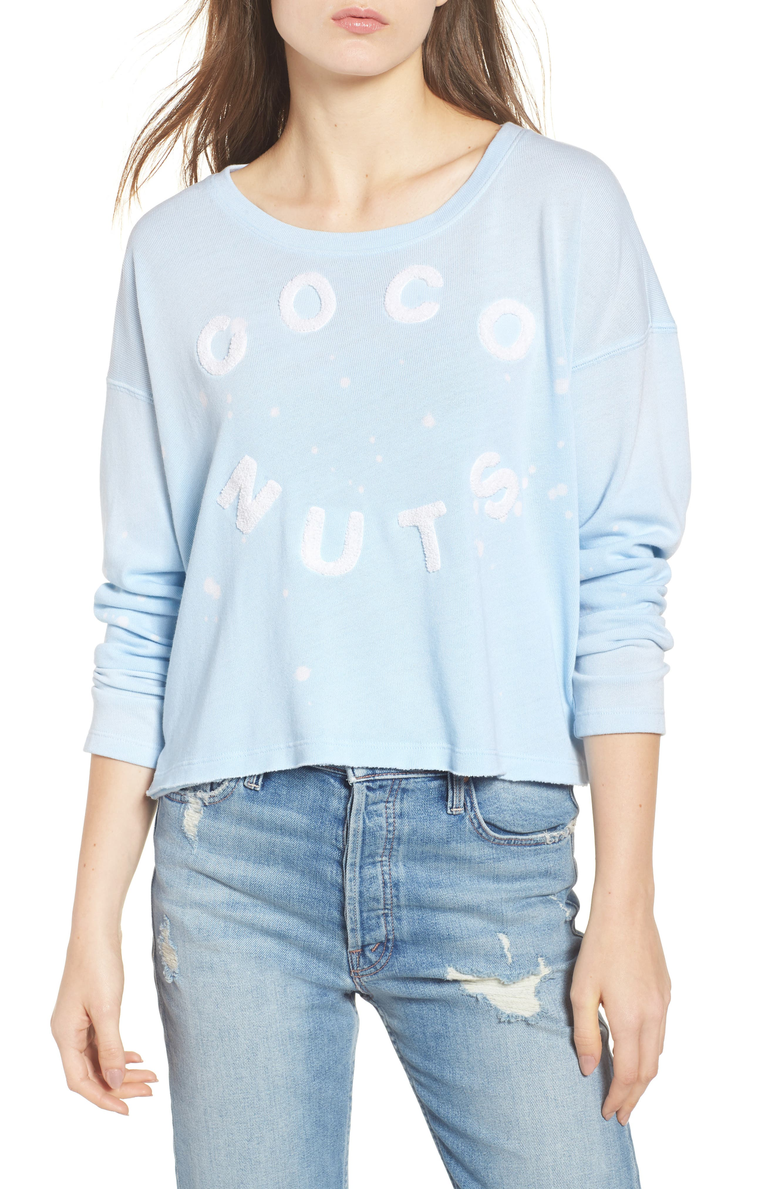 Coco Nuts Light Fleece Sweatshirt,                             Main thumbnail 1, color,                             Sun Faded Sky