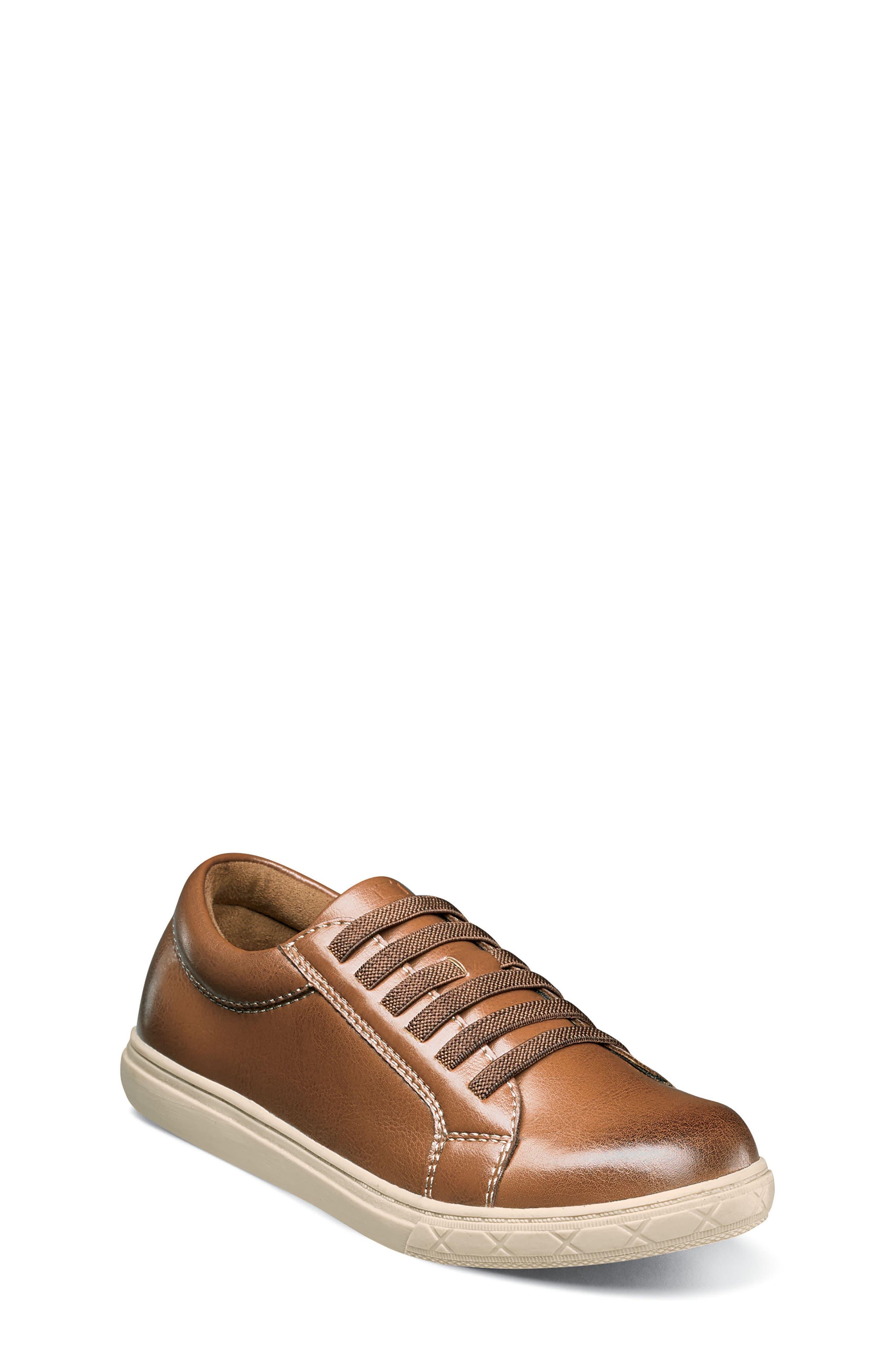 Curb Elastic Lace Sneaker,                             Main thumbnail 1, color,                             Cognac