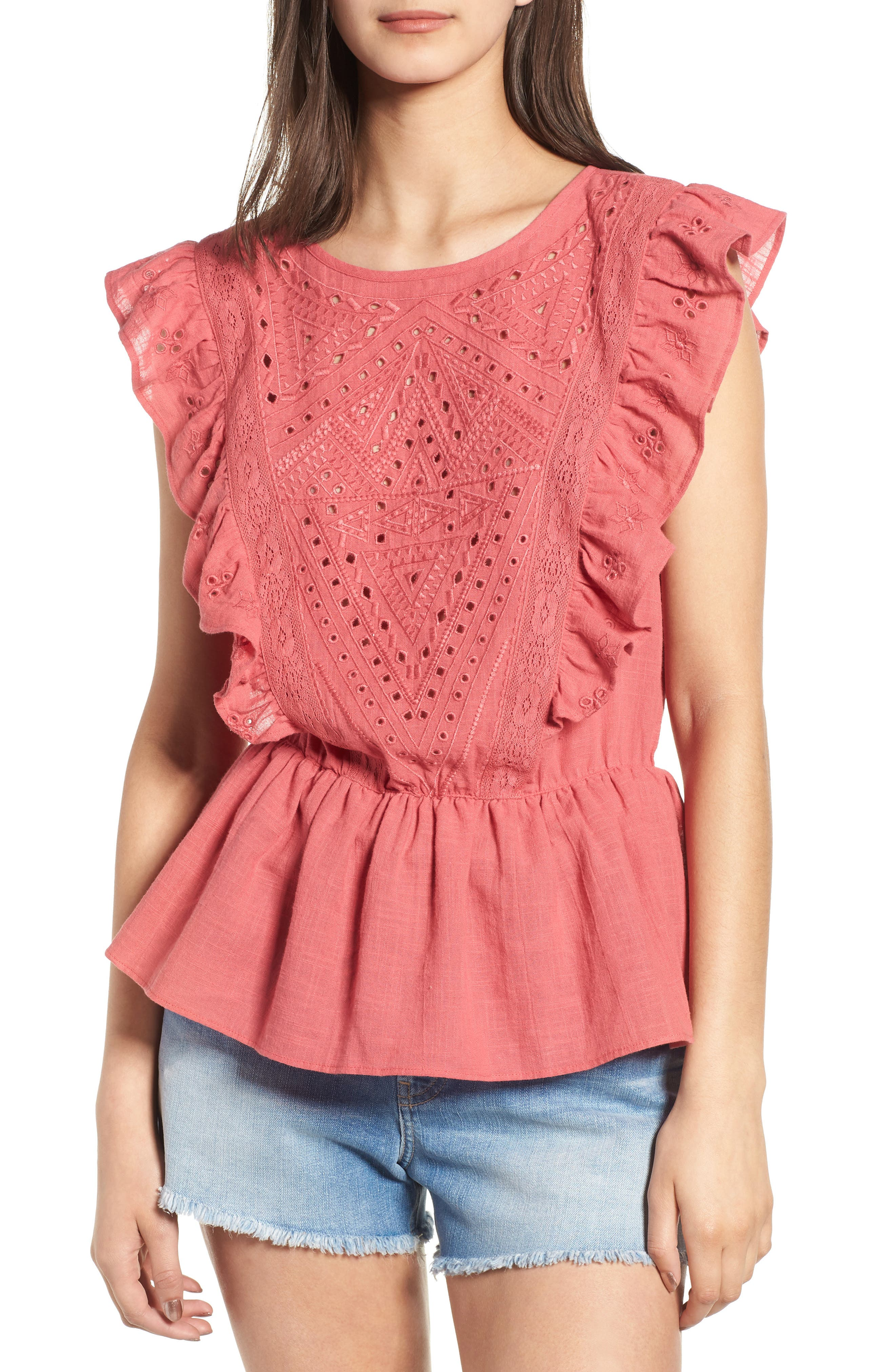 Eyelet Ruffle Top by Hinge