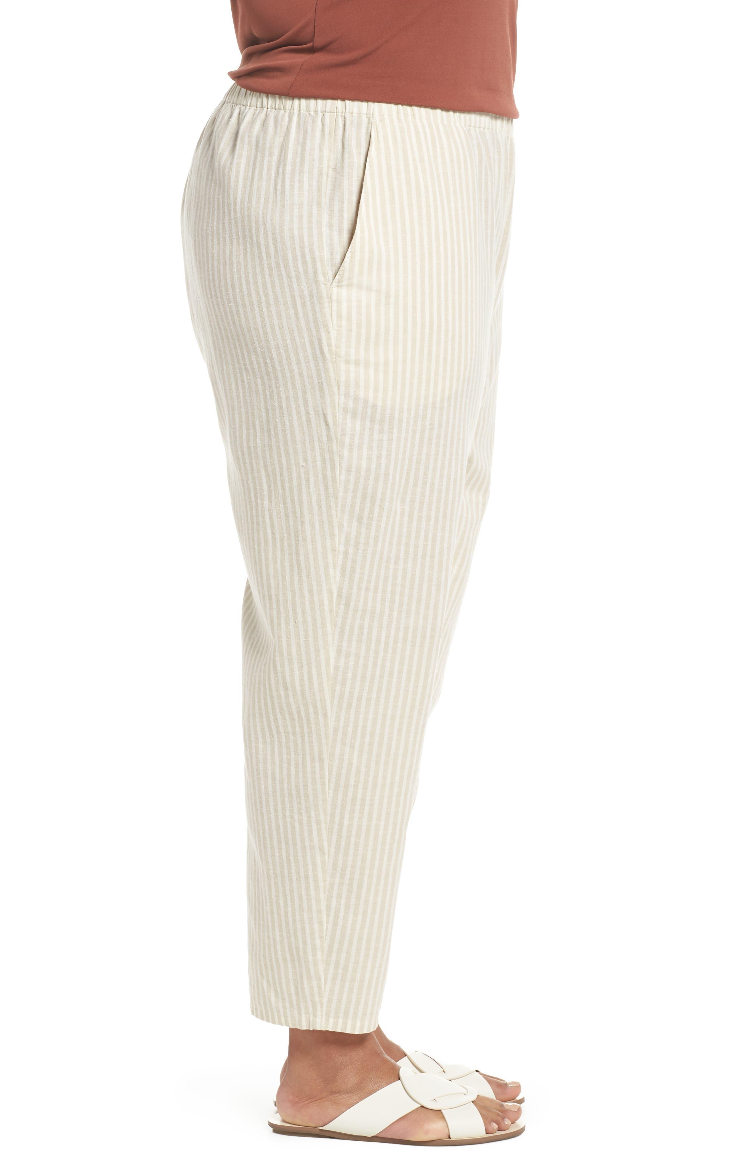Stripe Ankle Hemp & Cotton Pants,                             Alternate thumbnail 3, color,                             Natural