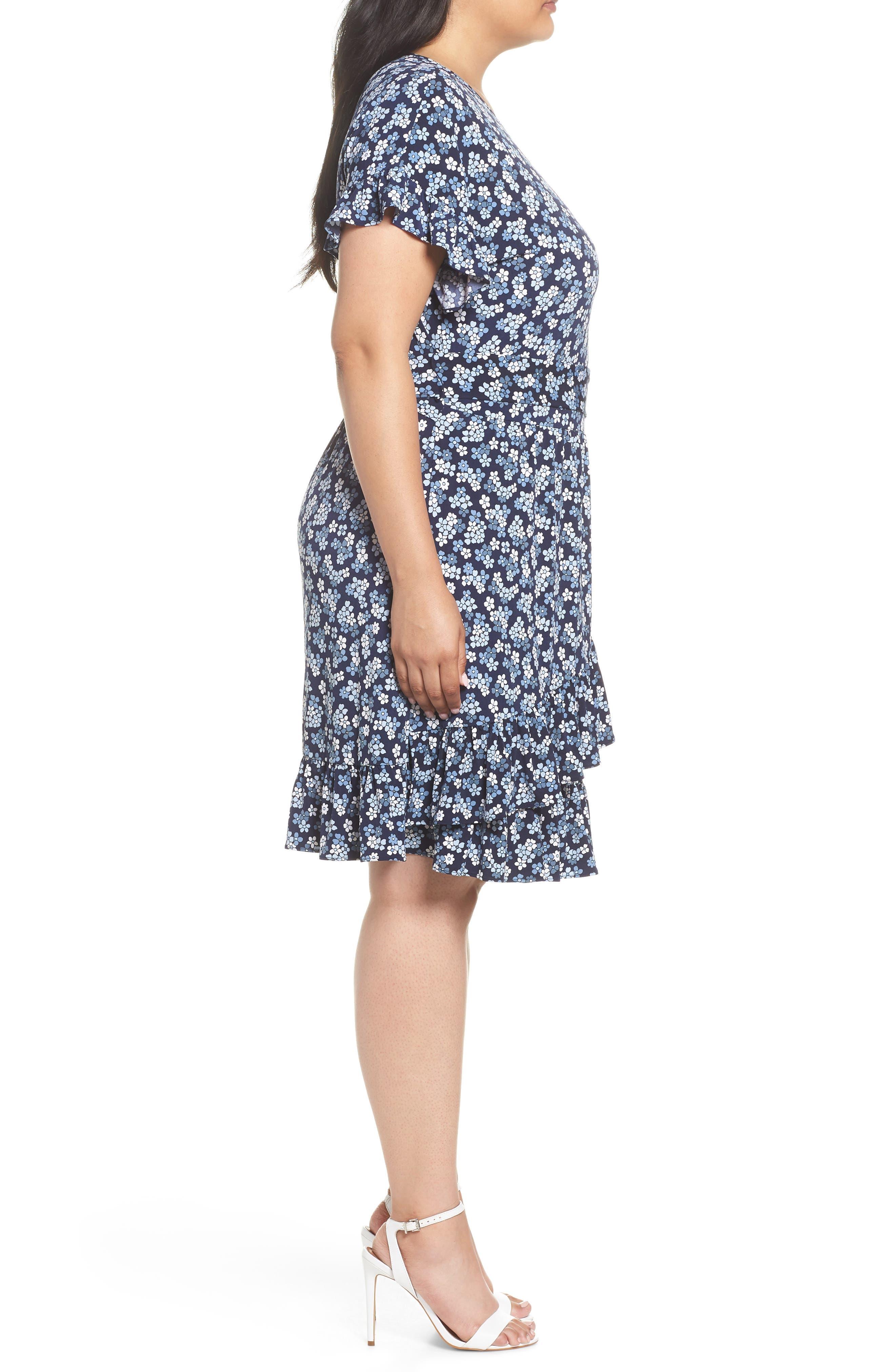 Cherry Blossom Ruffle Faux Wrap Dress,                             Alternate thumbnail 3, color,                             True Navy/ Light Chambray