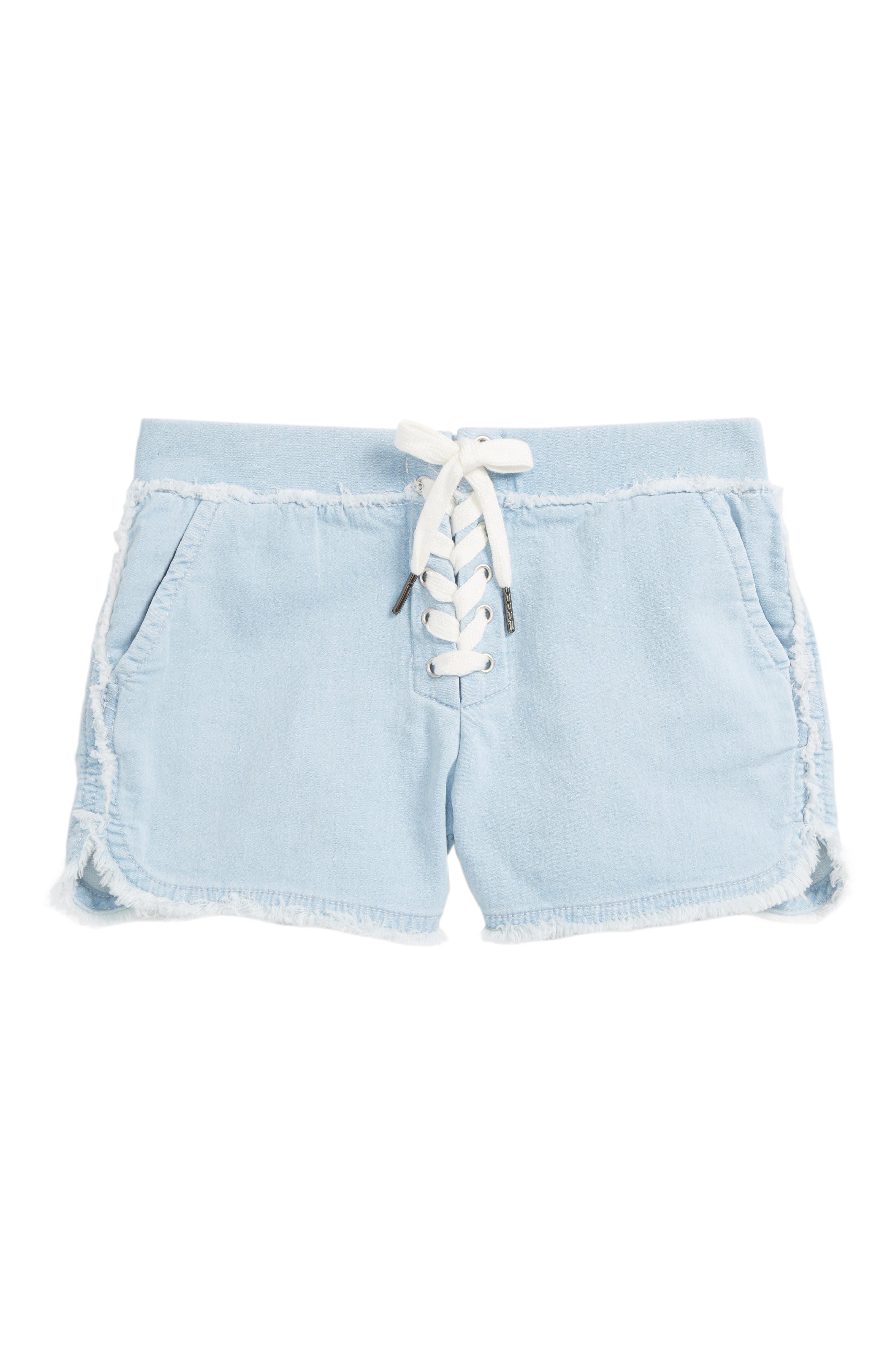 Lace-Up Athletic Chambray Shorts,                             Main thumbnail 1, color,                             Light Blue