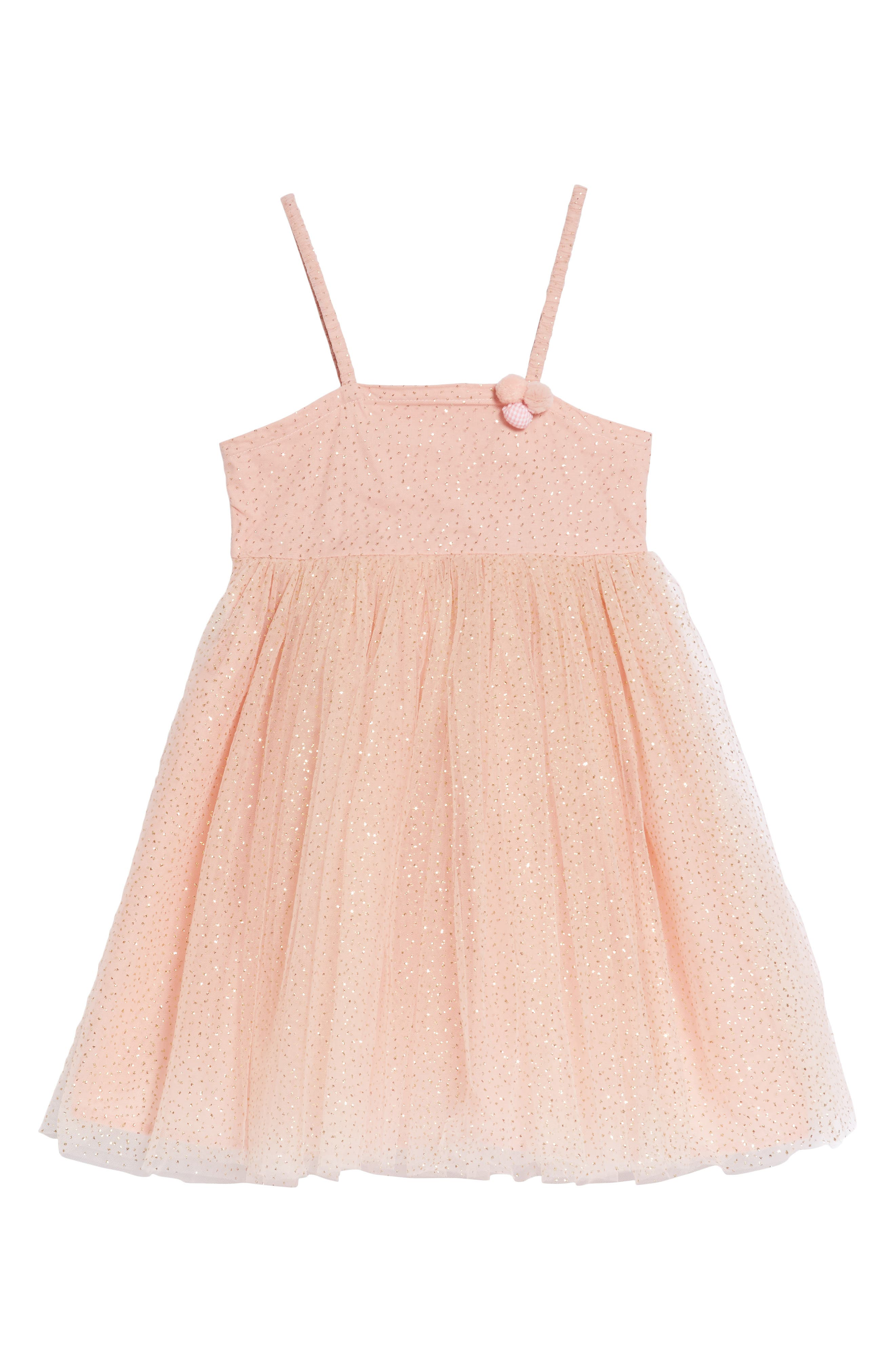 Glitter Dotted Tulle Empire Dress,                             Main thumbnail 1, color,                             Peach