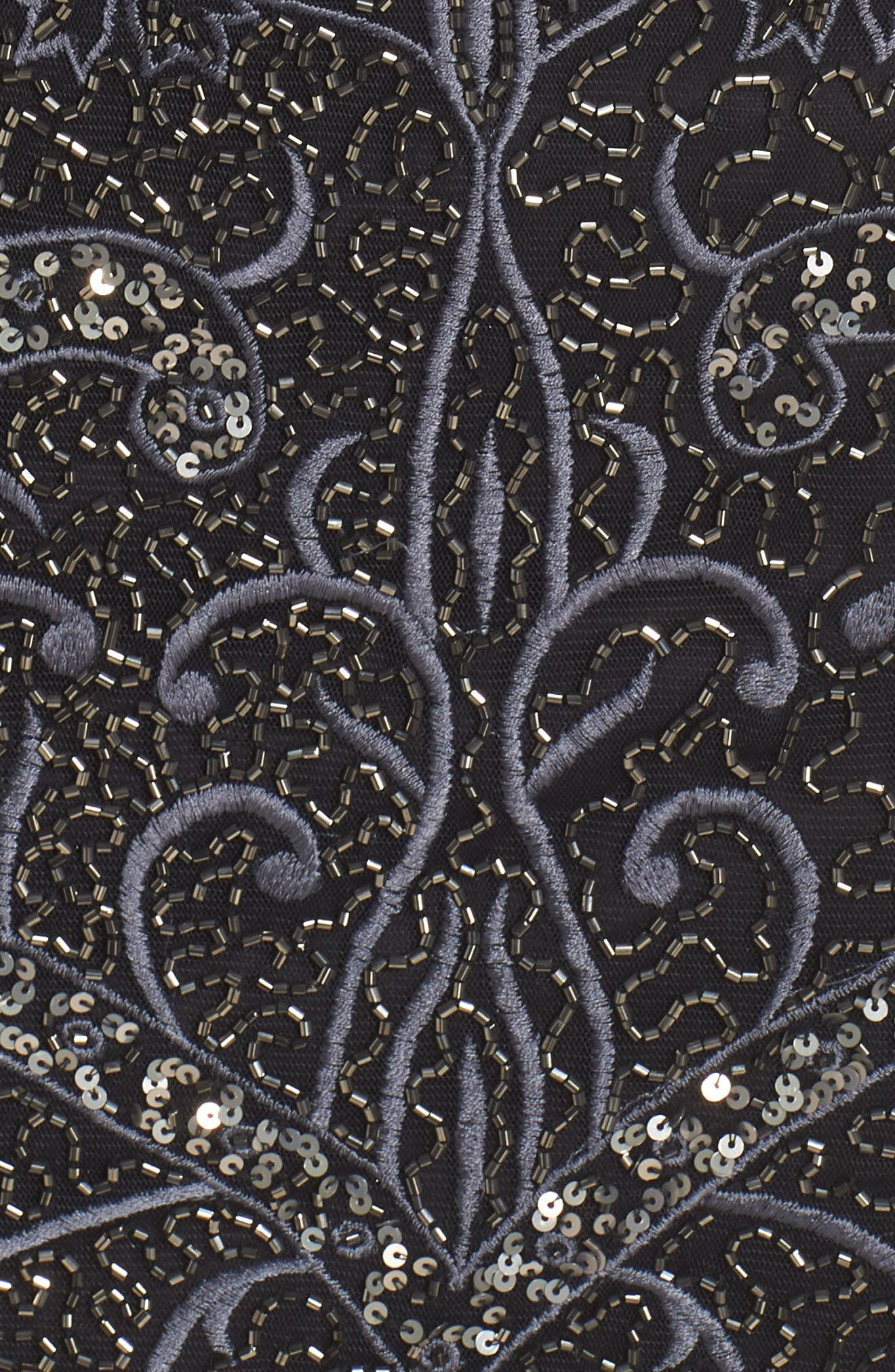 Embroidered Cocktail Dress,                             Alternate thumbnail 5, color,                             Black