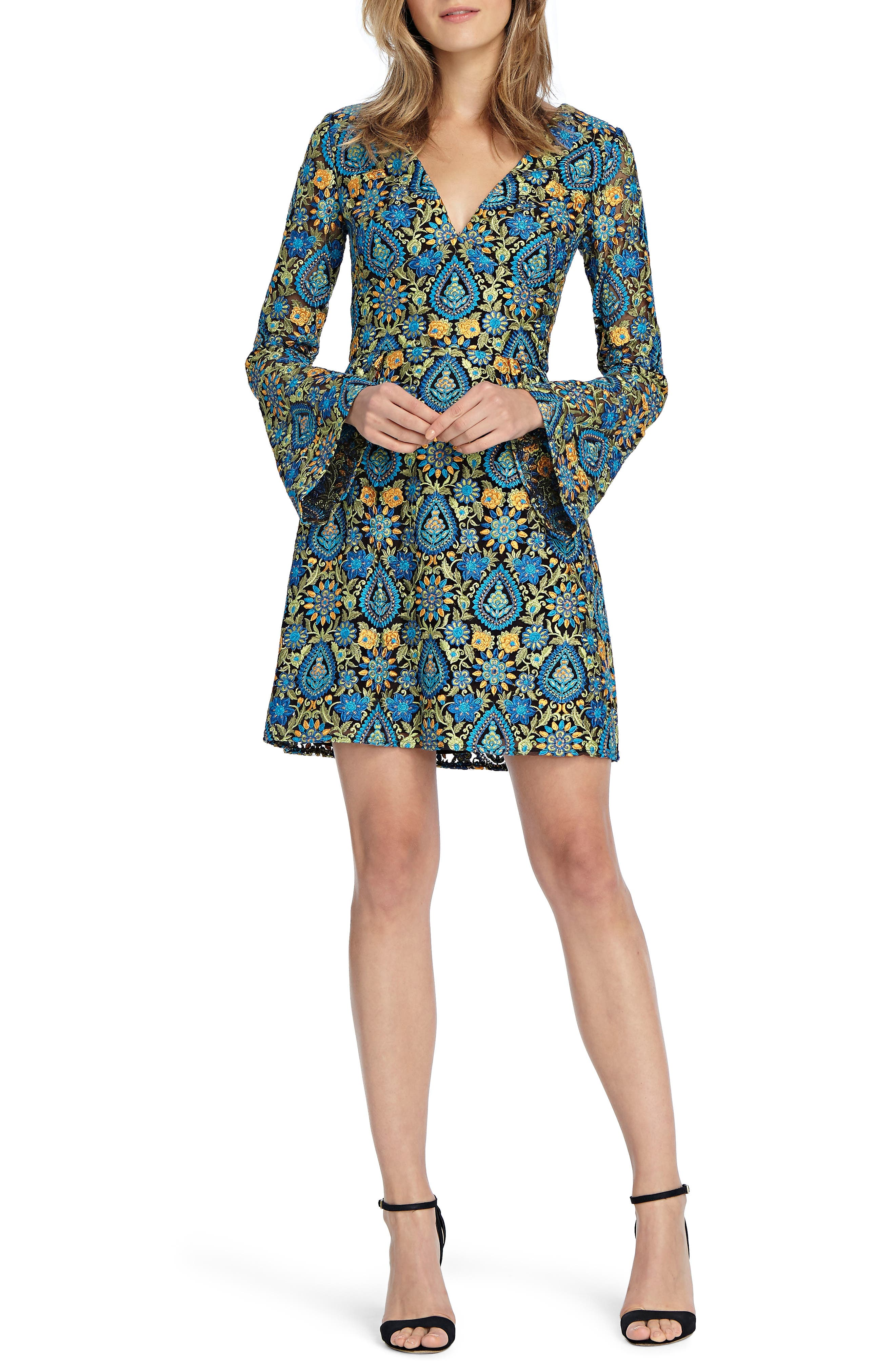 Paisley Bell Sleeve Minidress,                         Main,                         color, Bright Teal Combo
