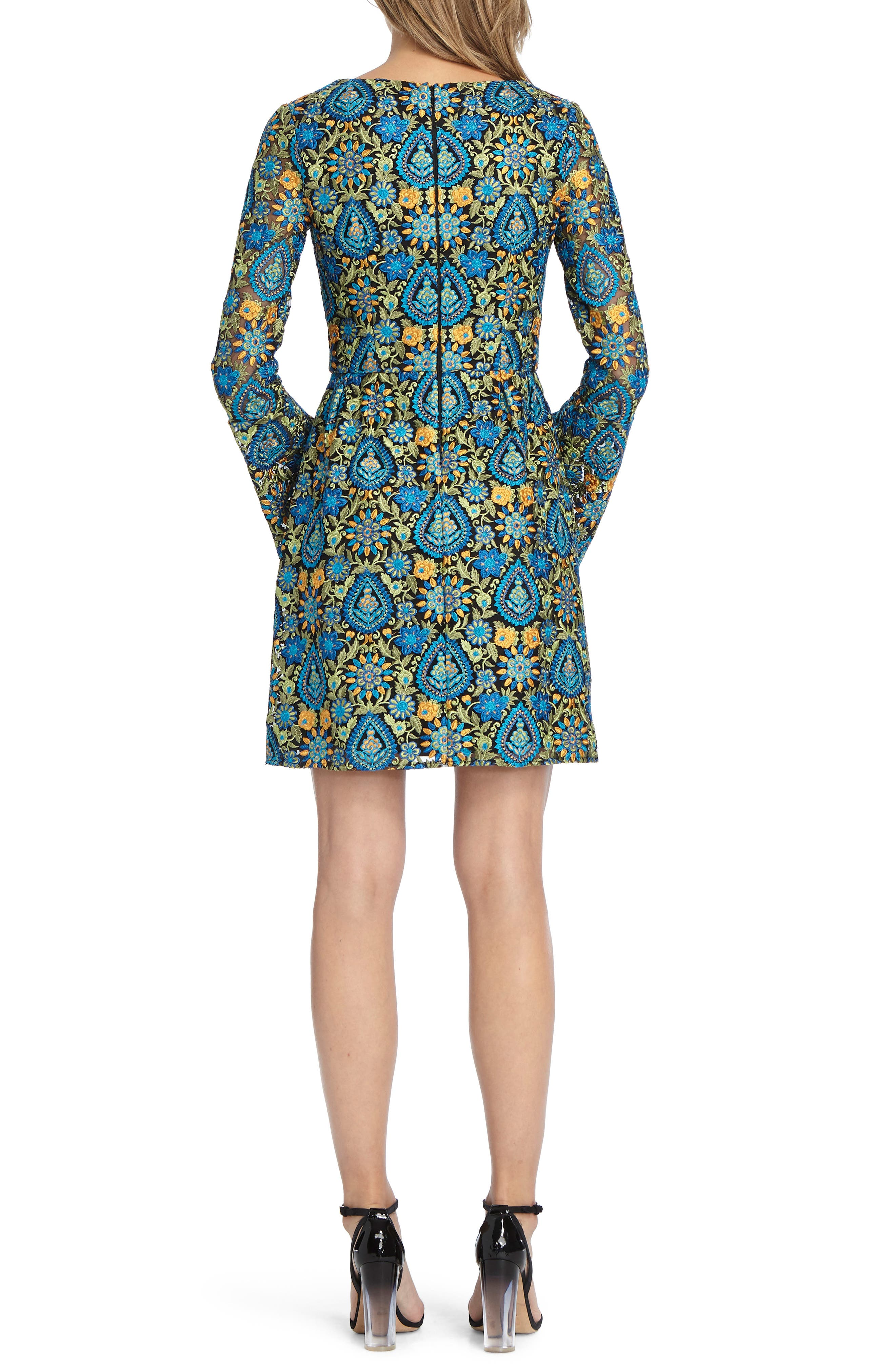 Paisley Bell Sleeve Minidress,                             Alternate thumbnail 2, color,                             Bright Teal Combo