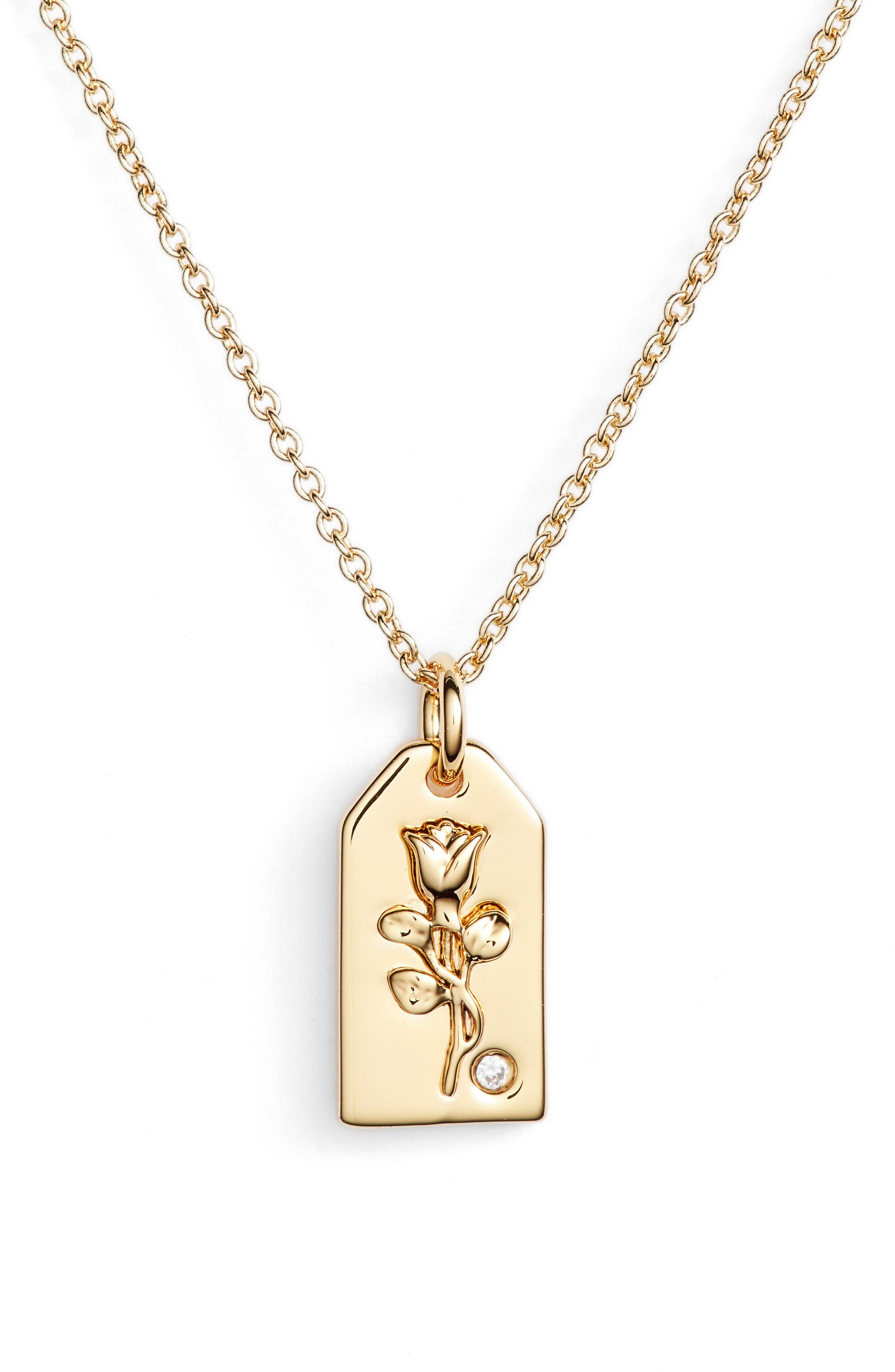 x We Wore What Small Rose Tag Pendant Necklace,                             Main thumbnail 1, color,                             Gold