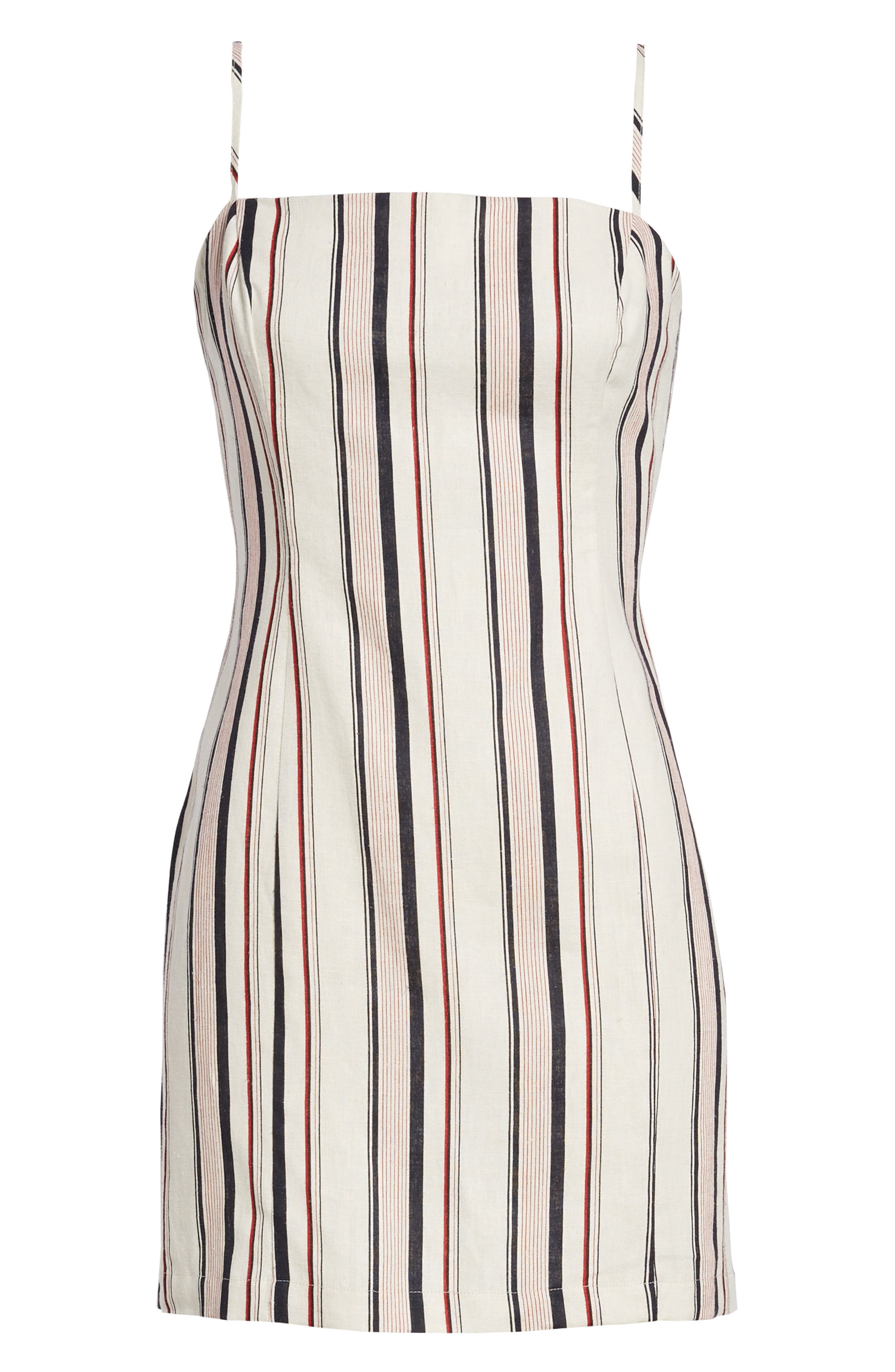 Striped Shift Dress,                             Alternate thumbnail 7, color,                             Navy Red Stripe